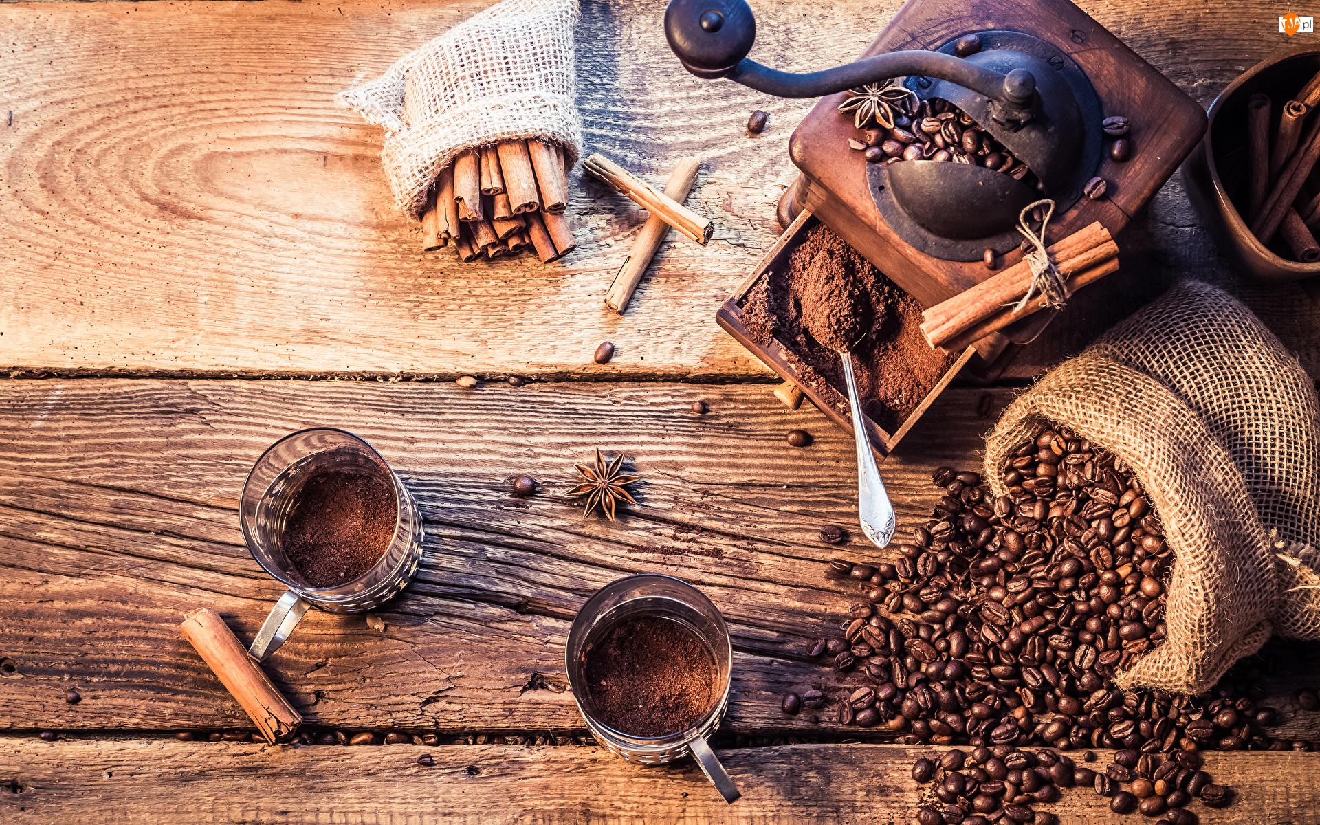 Ziarna, Szklanki, Cynamon, Kawa, Młynek do kawy