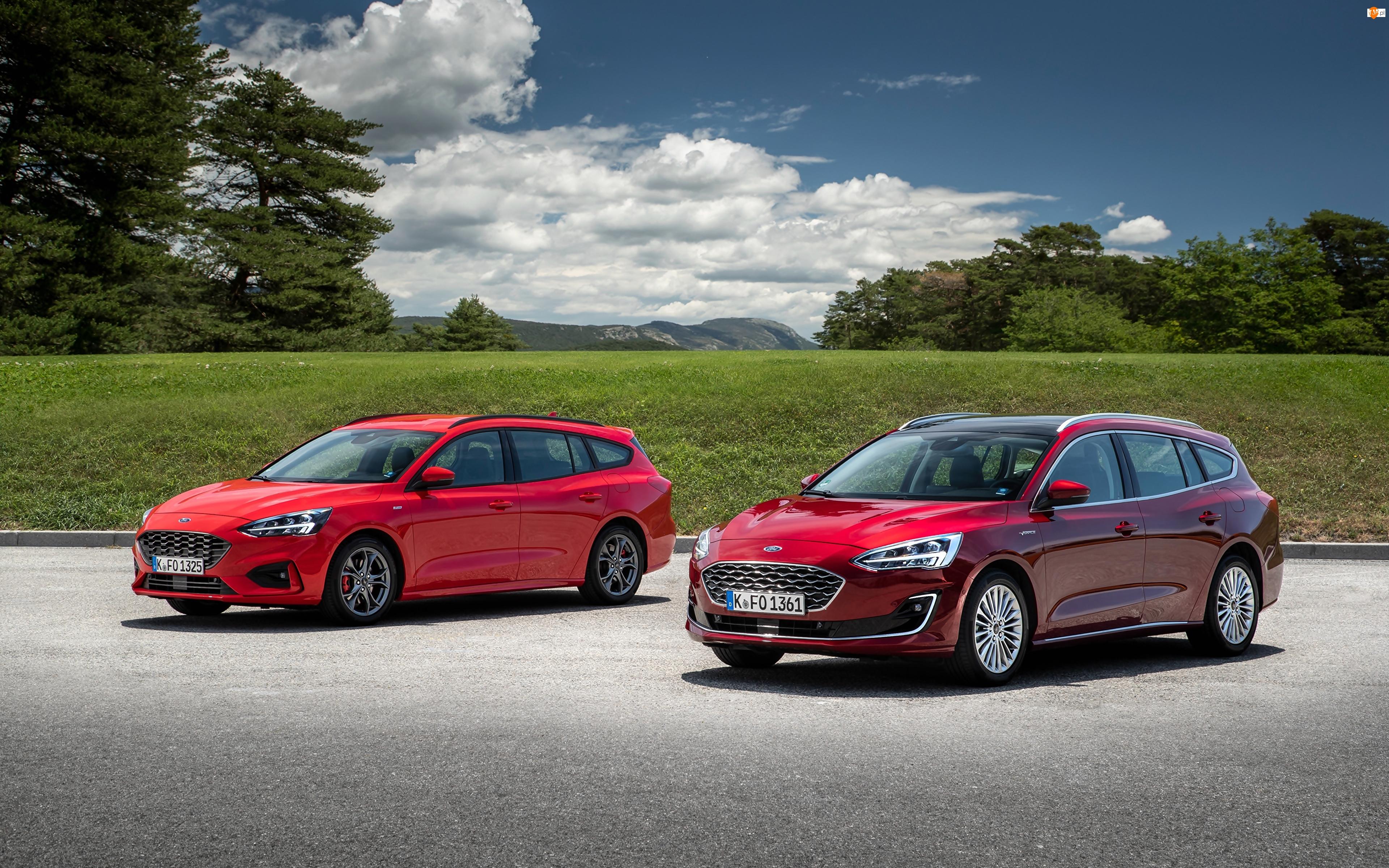 Samochody, Kombi, Czerwone, Dwa, Ford Focus ST