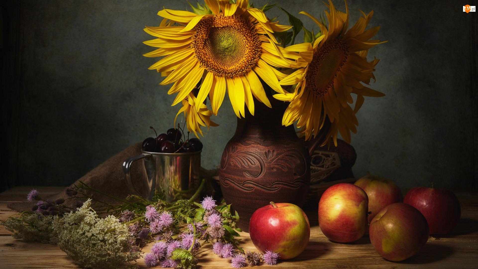 Wazon, Kwiaty, Czereśnie, Kompozycja, Garnuszek, Jabłka, Słoneczniki