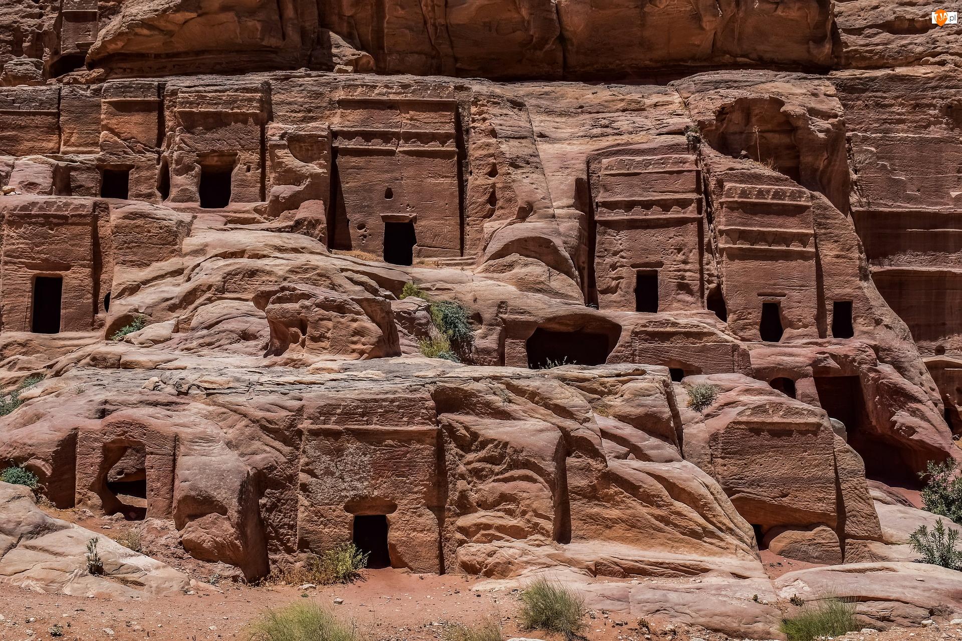 Skała, Ruiny, Petra, Zabytek UNESCO, Grobowce, Jordania