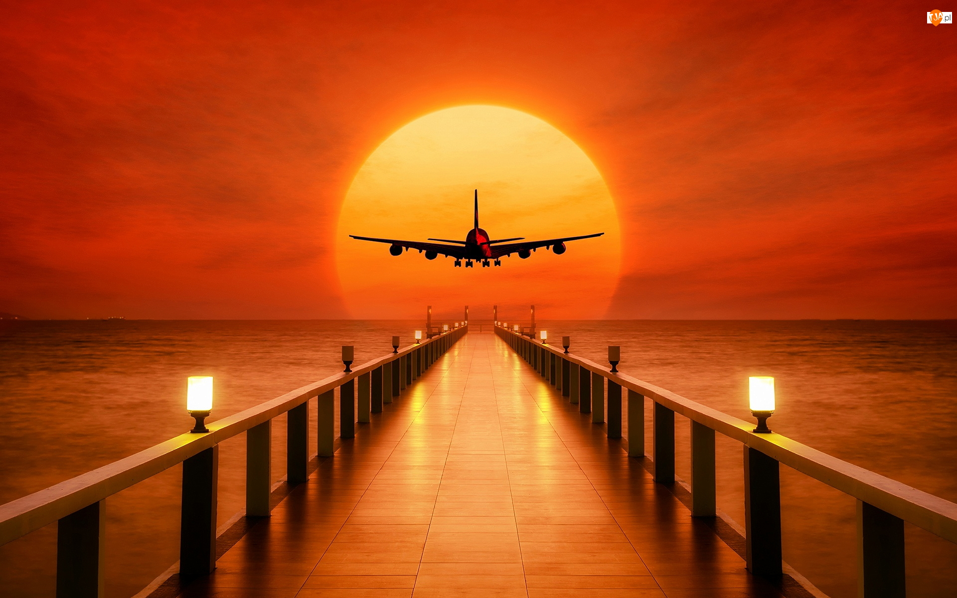 Zachód słońca, Morze, Lampy, 2D, Molo, Samolot