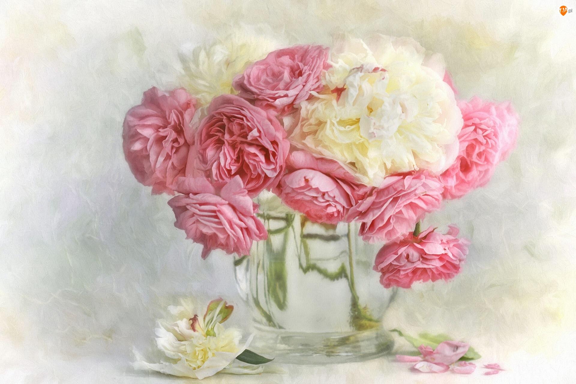 Kremowe, Wazon, Różowe, Piwonie, Bukiet, Róże, Grafika, Kwiaty
