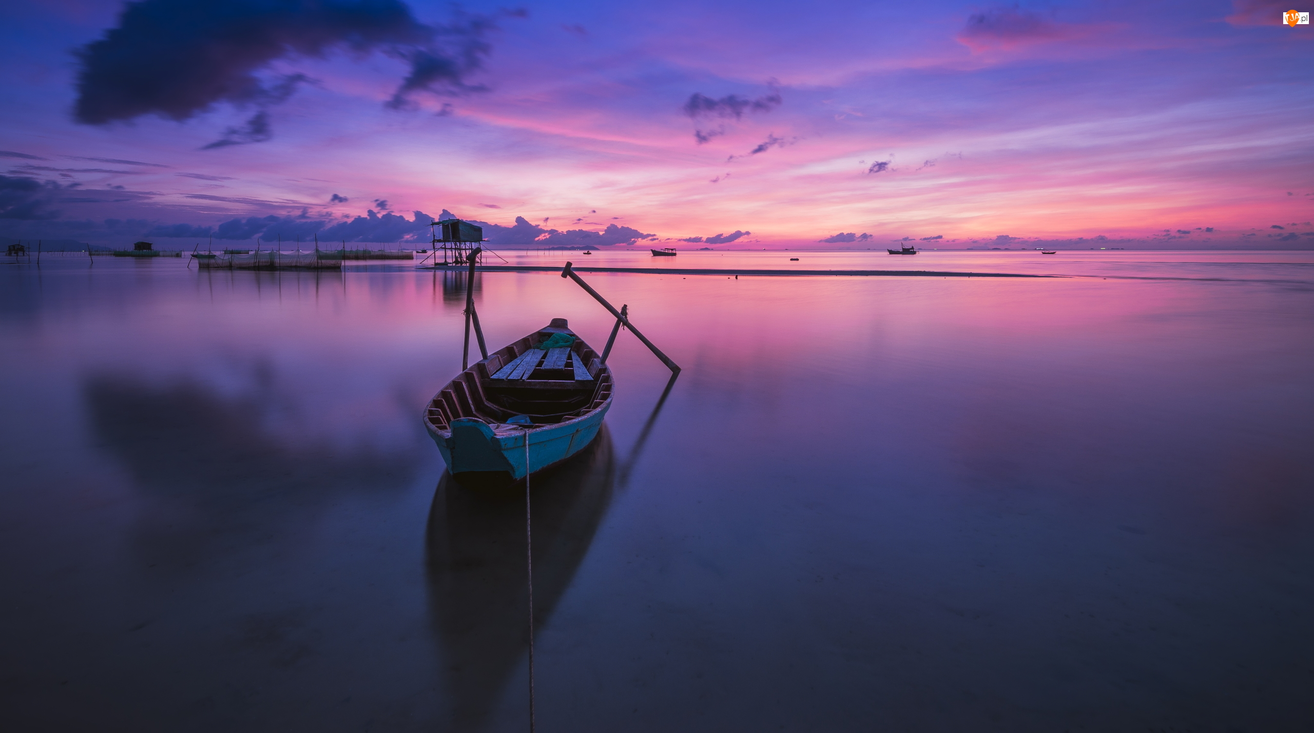 Łódka, Morze, Zachód słońca