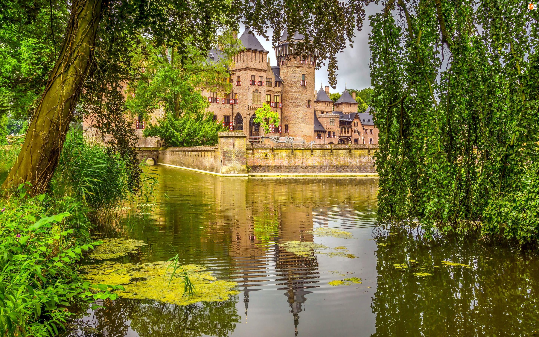Haarzuilens, Gmina Utrecht, Holandia, Zamek de Haar, Staw, Drzewa, Park