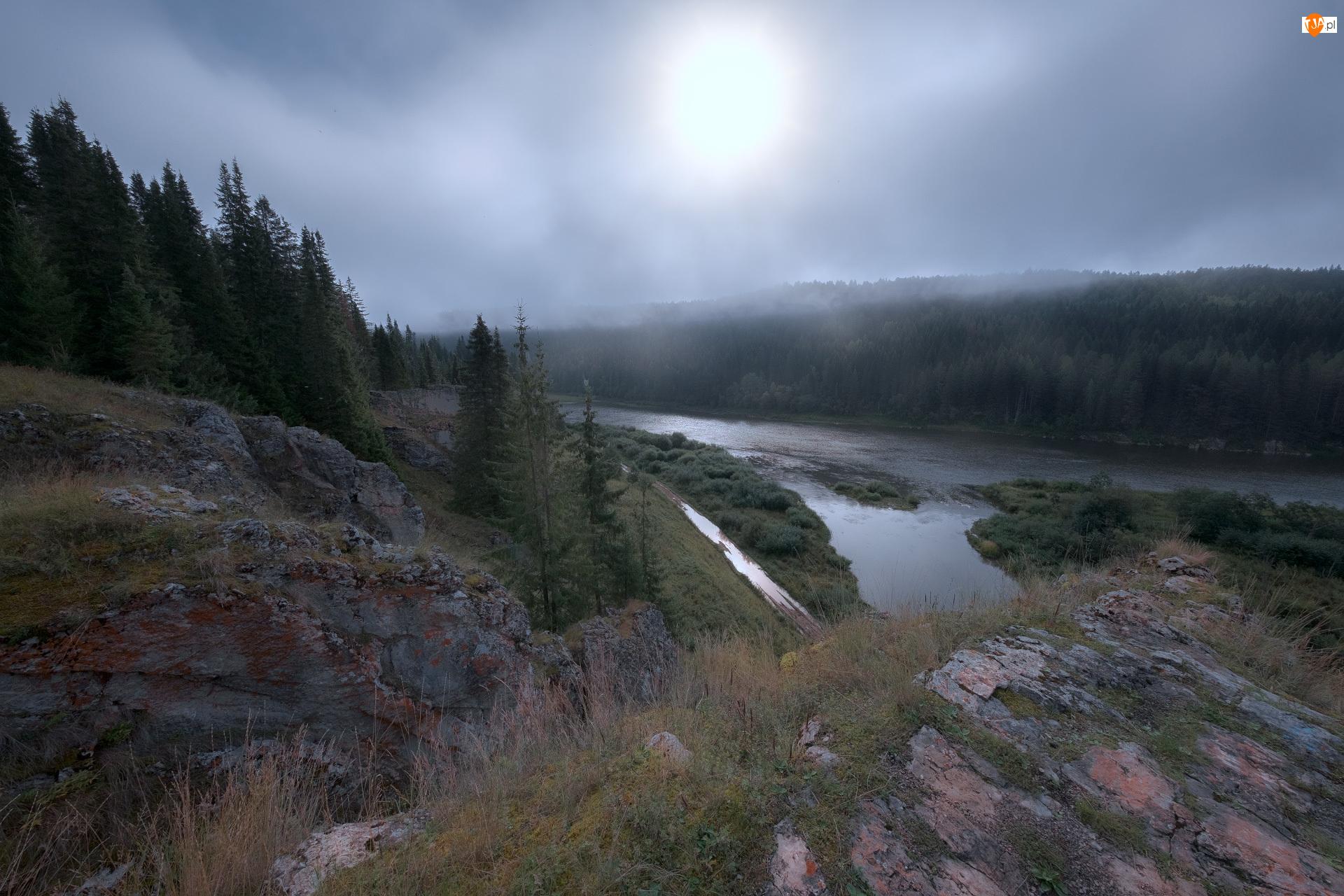 Skały, Drzewa, Rosja, Rzeka Czusowaja, Kraj Permski, Mgła, Trawa