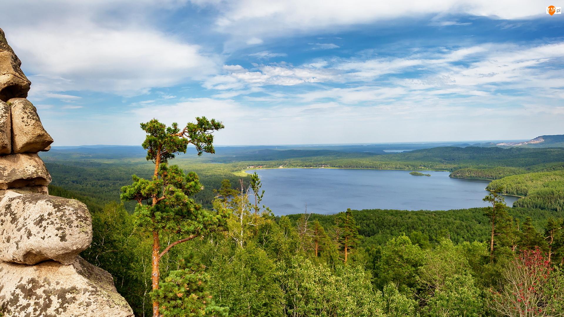 Drzewa, Jezioro Arakul, Południowy Ural, Rosja, Skała, Obwód czelabiński
