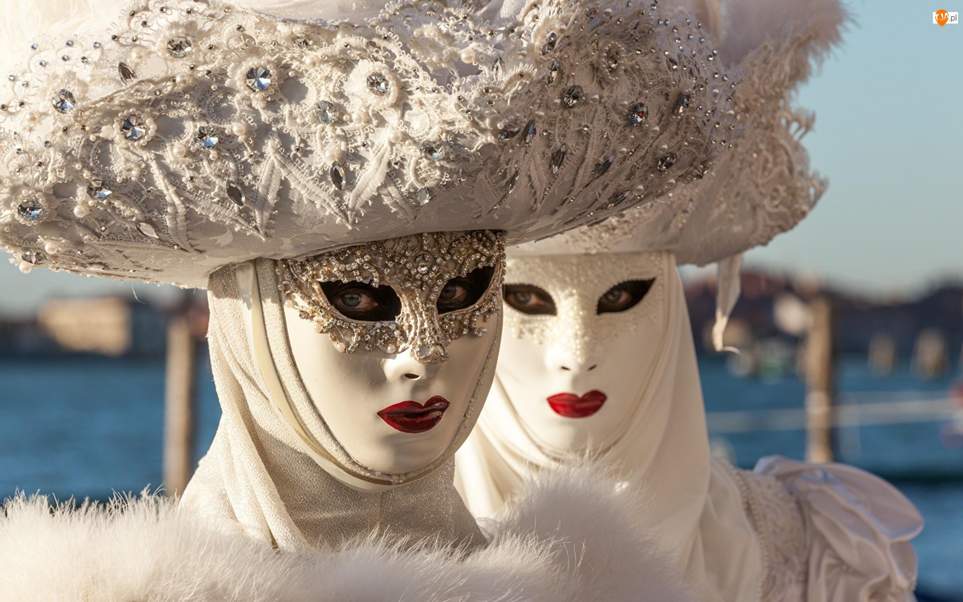 Maski, Karnawał, Kobiety, Białe