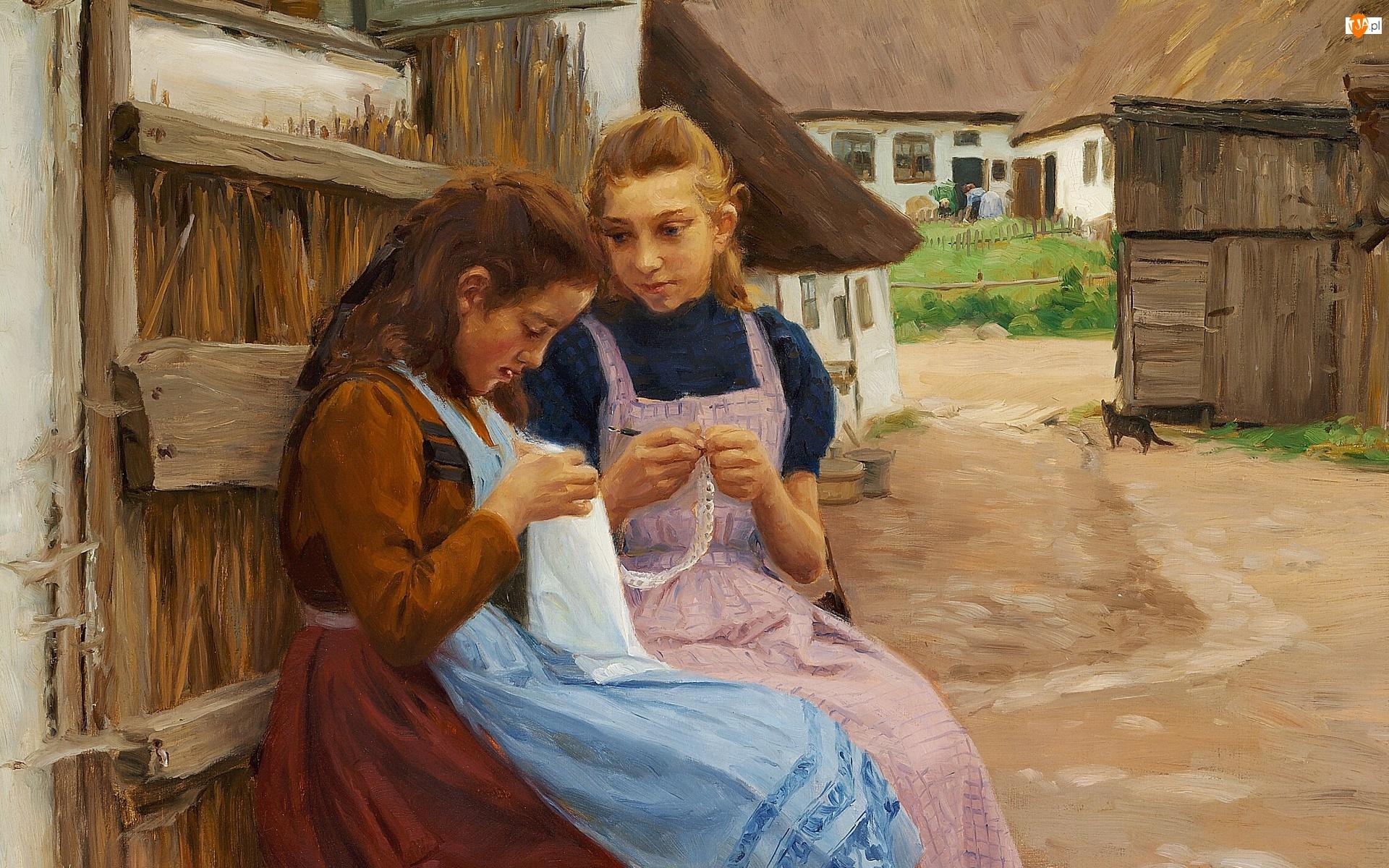 Podwórze, Dziewczyny, Hans Andersen Bradekilde, Wieś, Obraz, Malarstwo, Robótki ręczne
