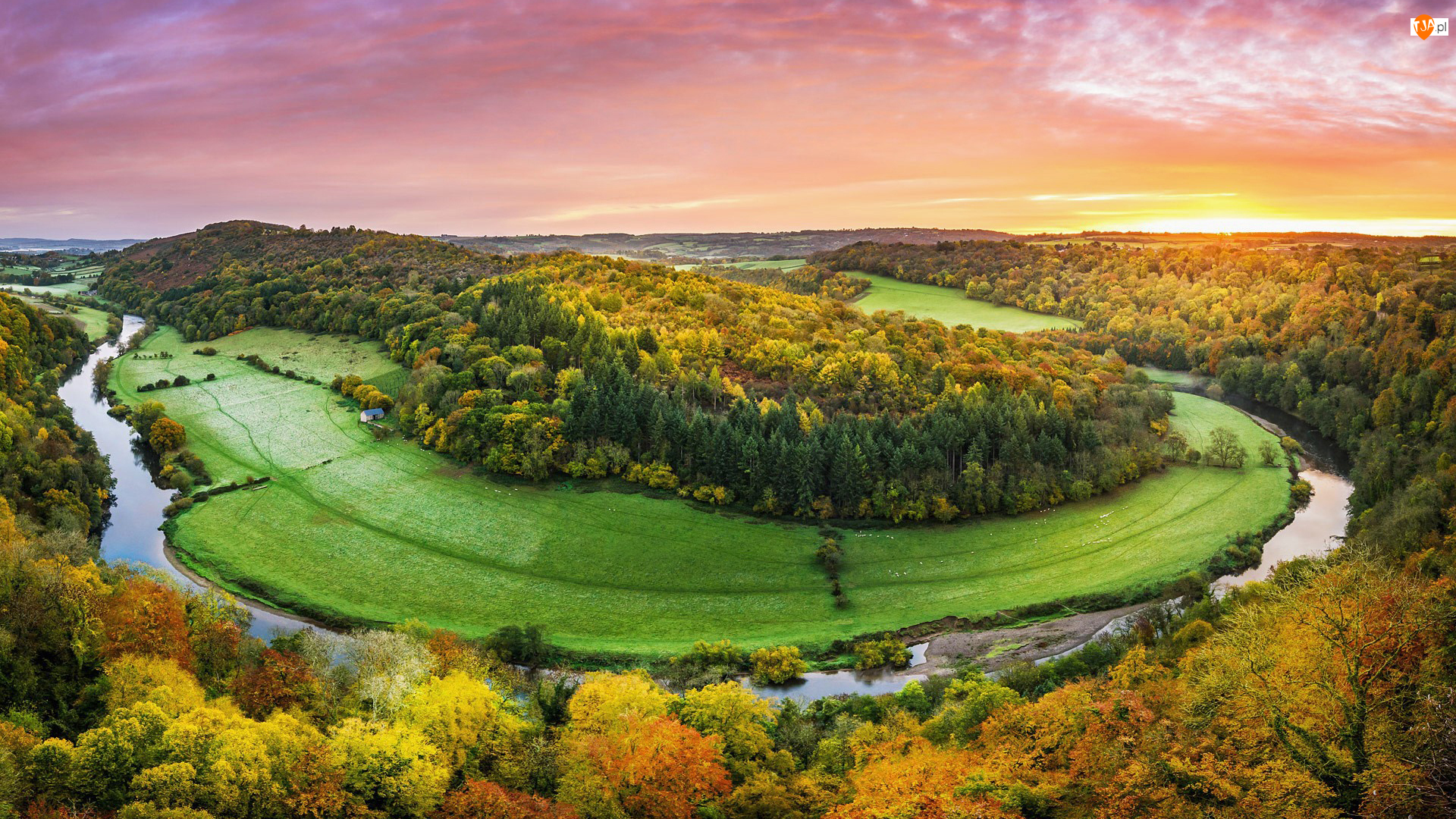Wschód słońca, Rzeka Wye, Lasy, Forest of Dean, Zakole, Jesień, Anglia, Drzewa