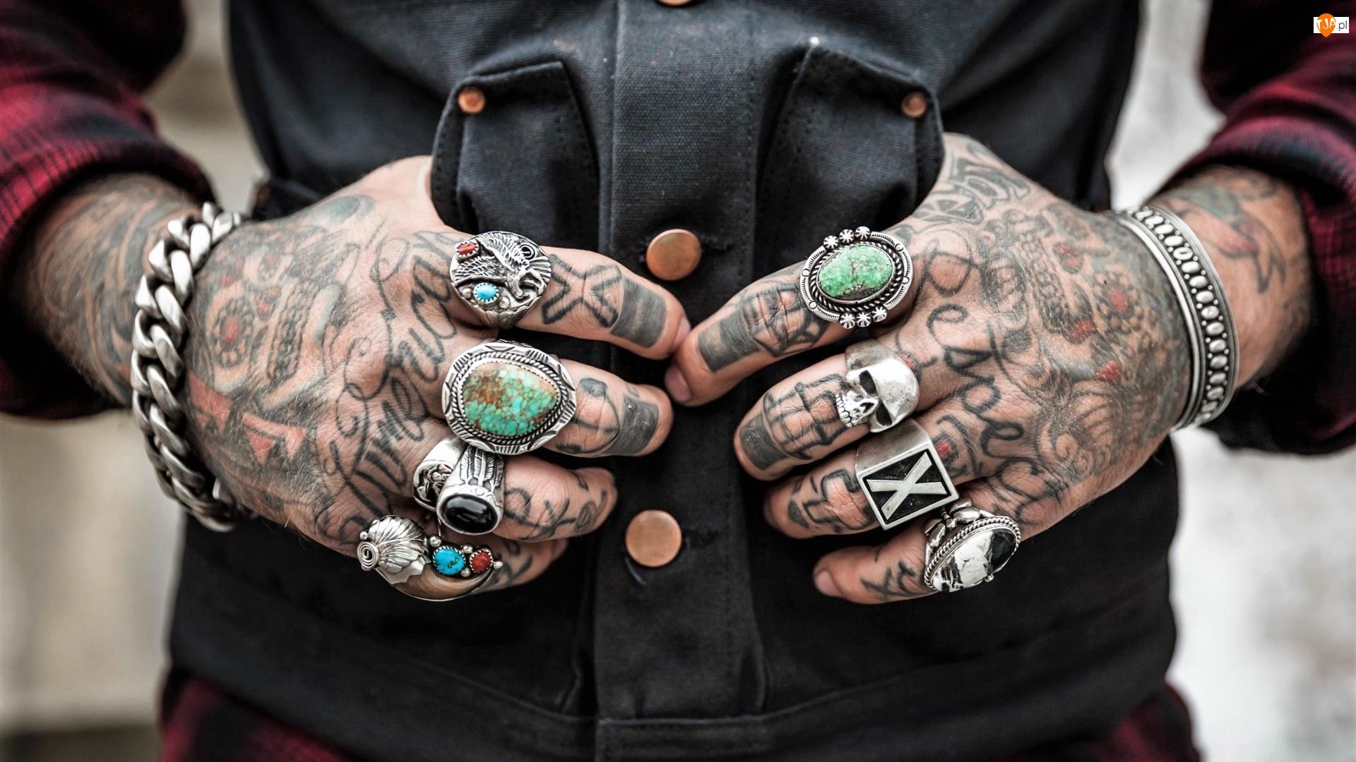 Ręce, Mężczyzna, Sygnety, Tatuaże, Dłonie, Biżuteria