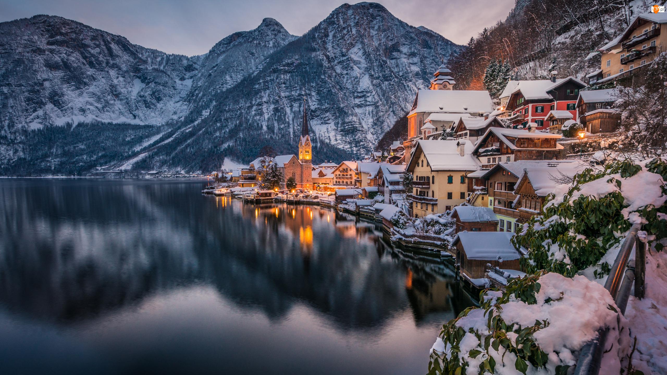 Hallstatt, Austria, Alpy, Zima, Góry, Jezioro Hallstattersee
