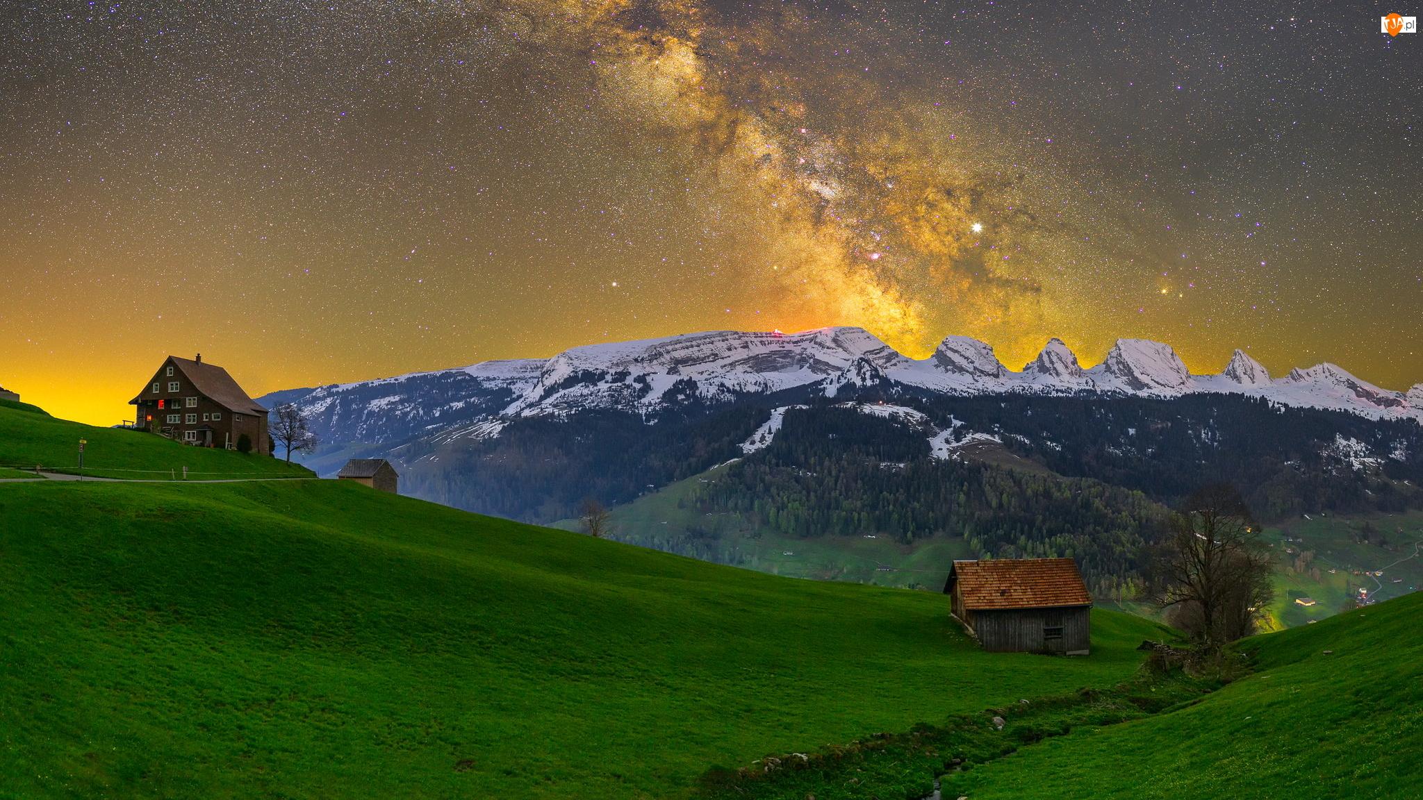 Szwajcaria, Gwiazdy, Droga mleczna, Alpy Zachodnie, Alt Sankt Johann, Wieś, Góry, Domy, Appenzeller Alpen, Kanton Sankt Gallen