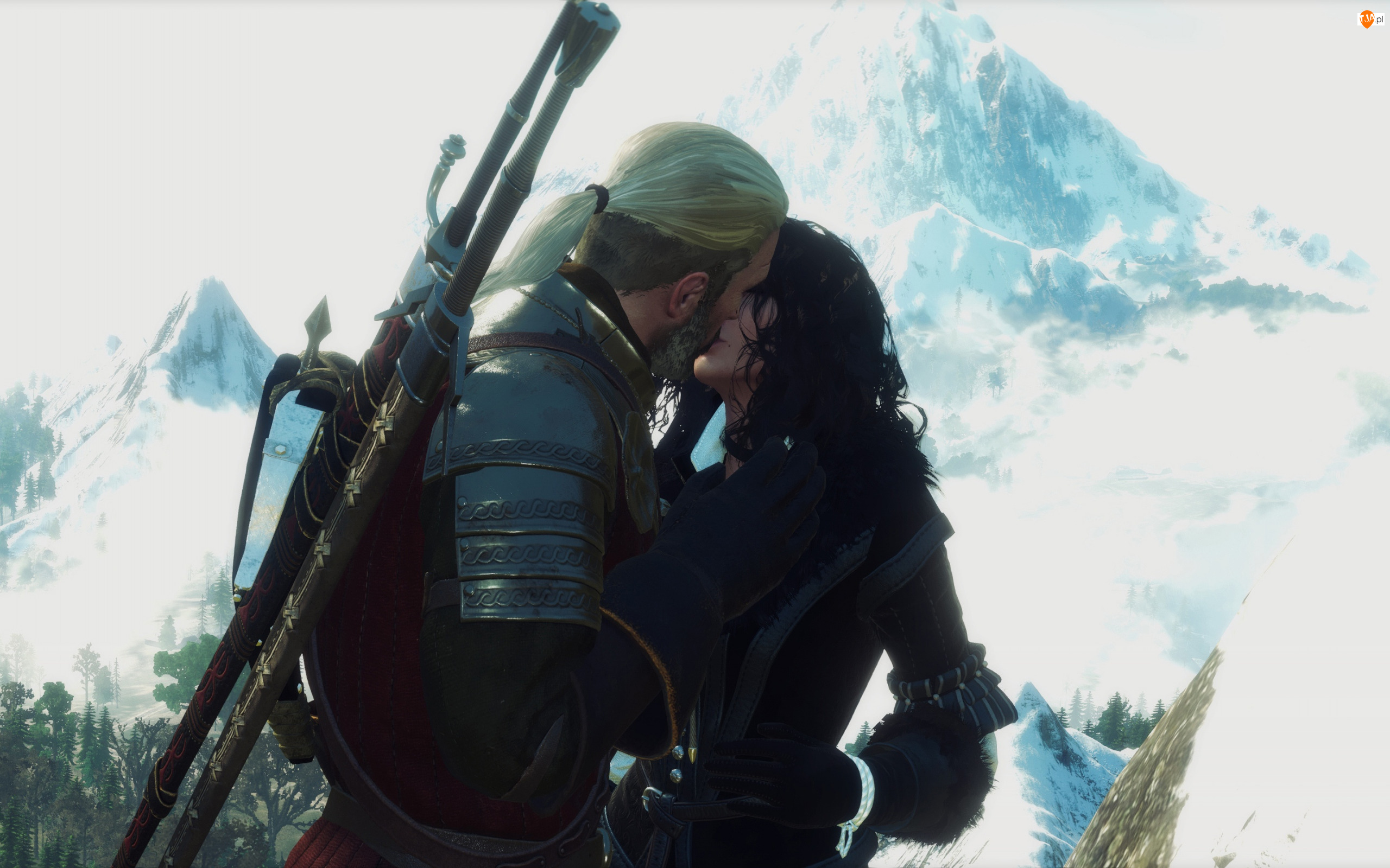 The Witcher 3 Wild Hunt, Gra, Geralt, Pocałunek, Wiedźmin 3 Dziki Gon, Yennefer