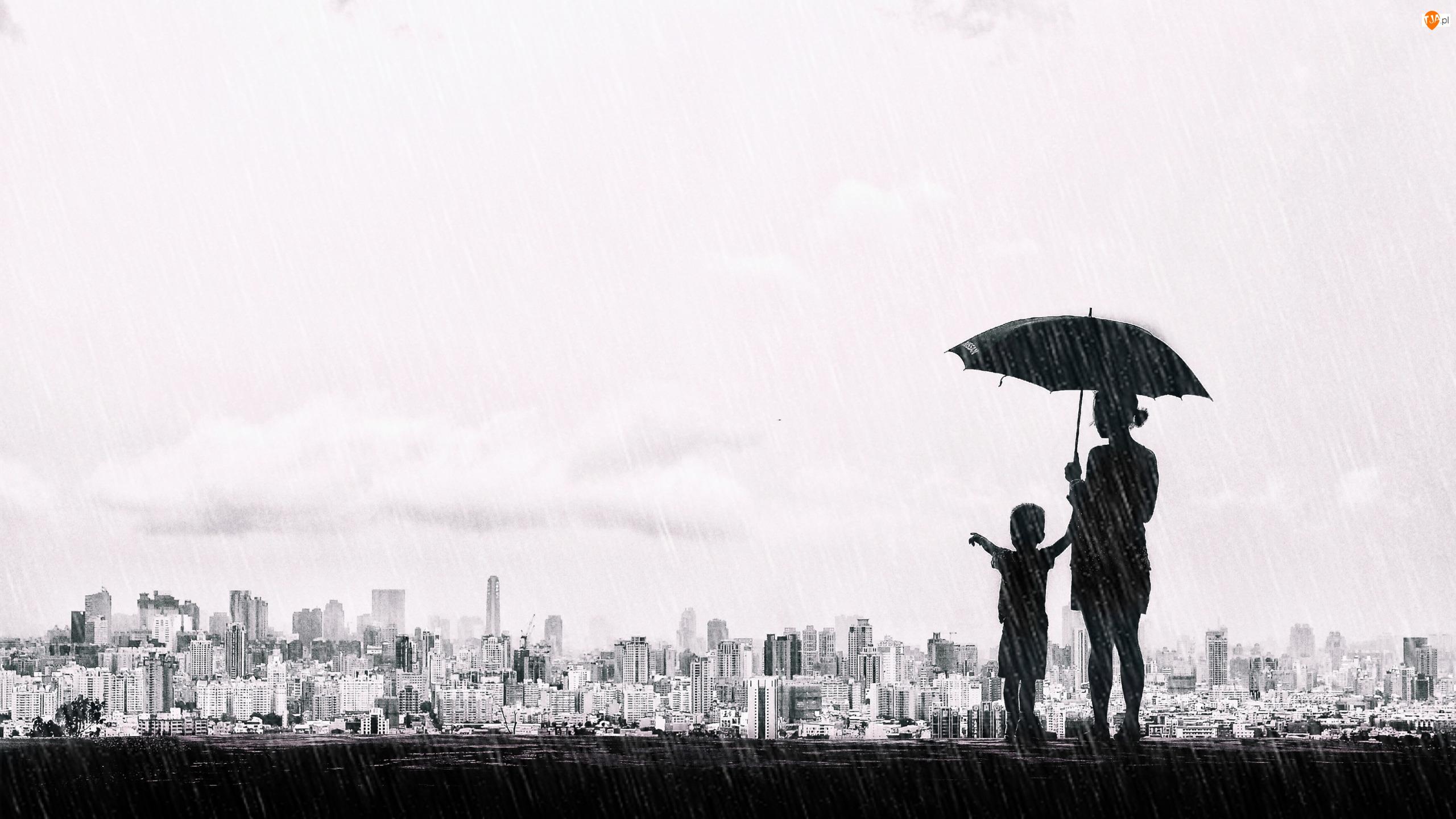 Kobieta, Dziecko, Czarno białe, Grafika, Miasto, Deszcz, Parasol