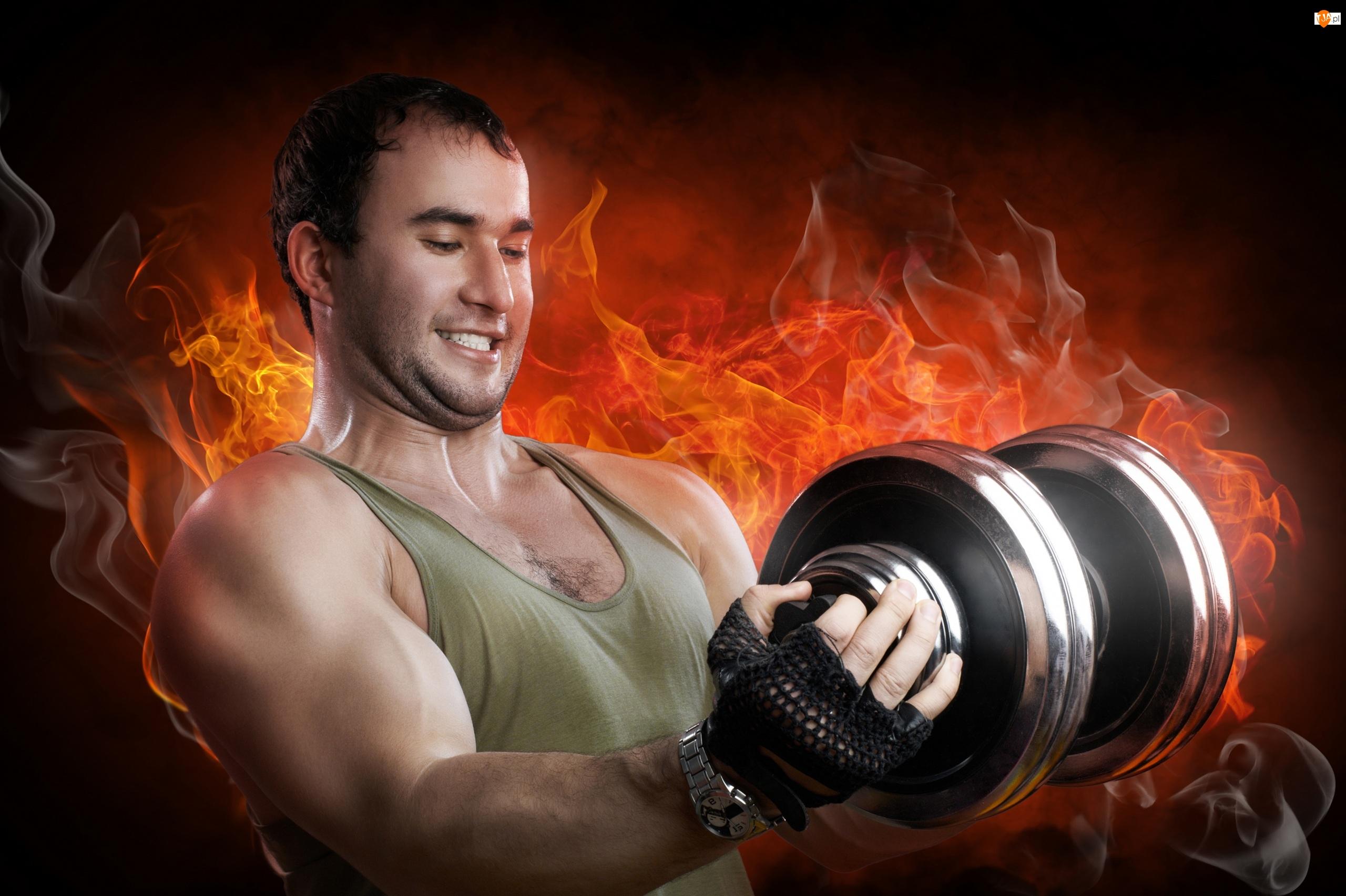 Mięśnie, Siłownia, Ciężarki, Mężczyzna, Płomienie