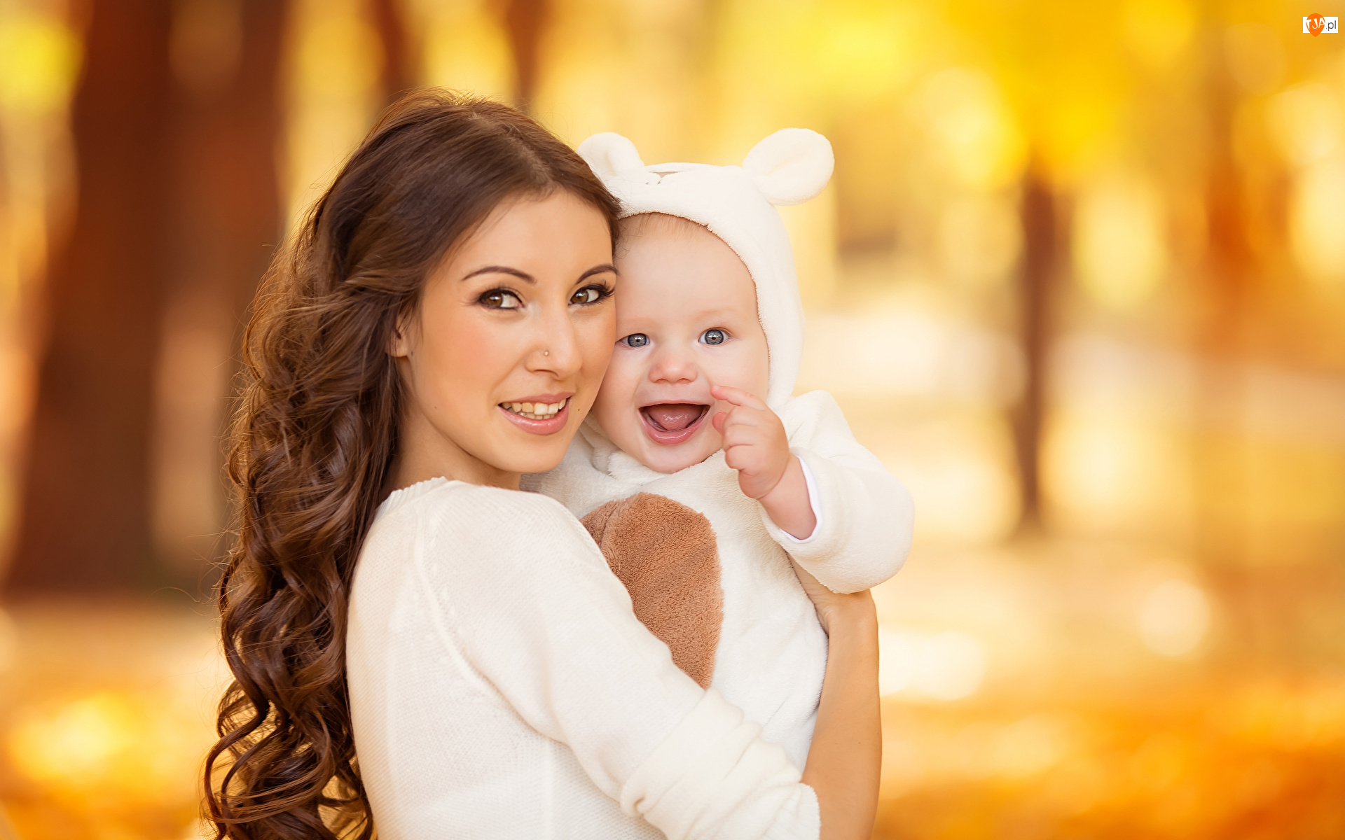 Uśmiech, Kobieta, Matka, Dziecko