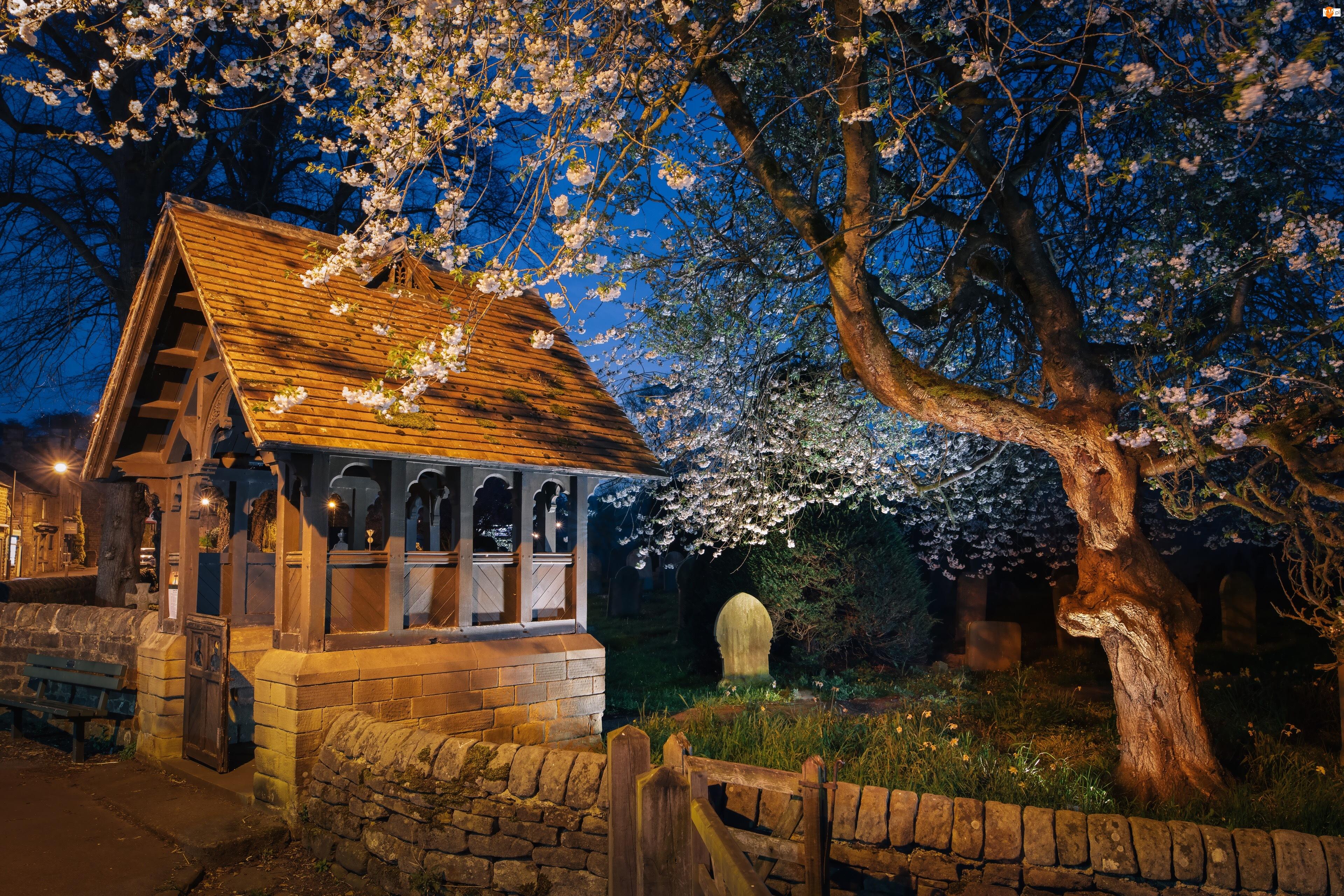 Kościół św. Anny, Wejście, Lychgate, Anglia, Baslow, Noc, Drzewo, Cmentarz, Ogrodzenie, Kwitnące, Drzewo, Hrabstwo Derbyshire