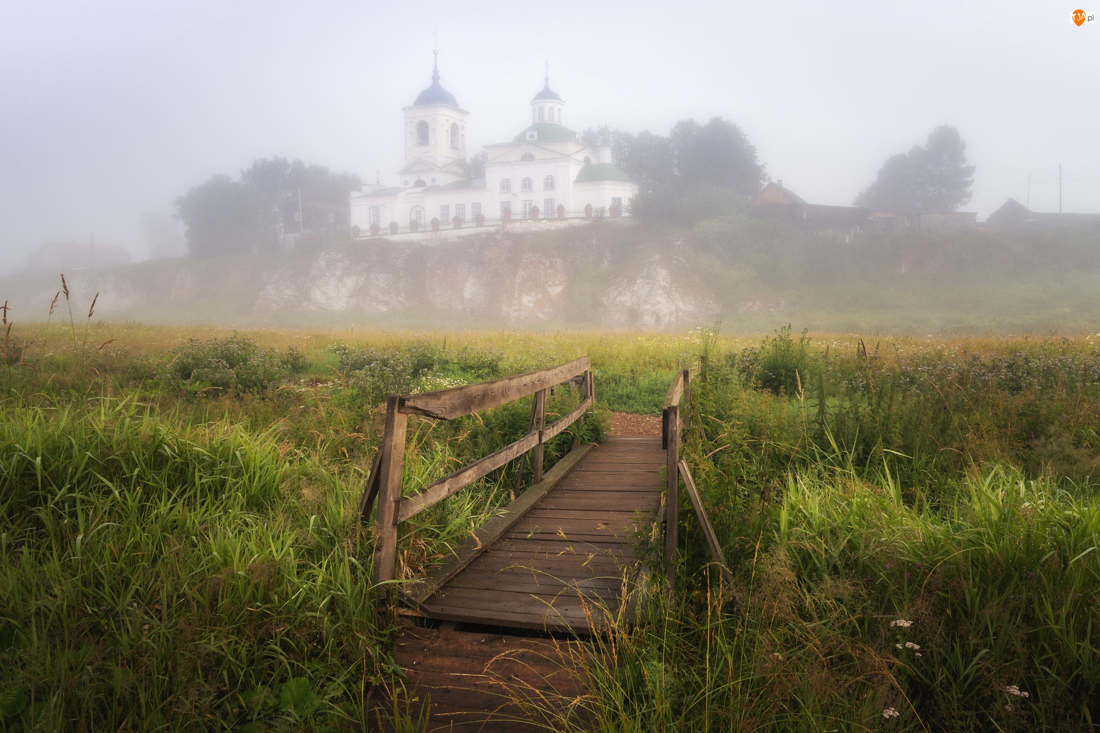 Mostek, Mgła, Drzewa, Cerkiew, Trawa