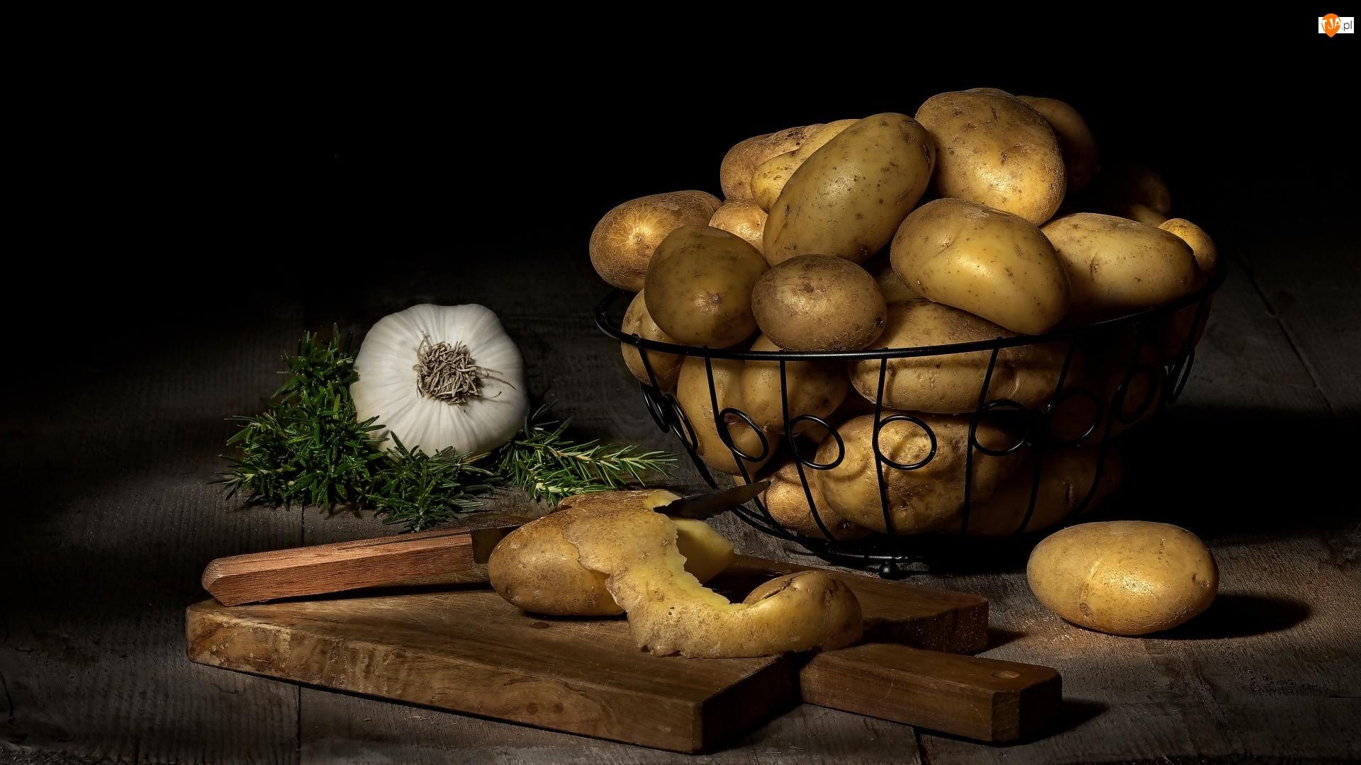Nóż, Warzywa, Zioła, Deska, Ziemniaki, Deska, Koszyk, Czosnek