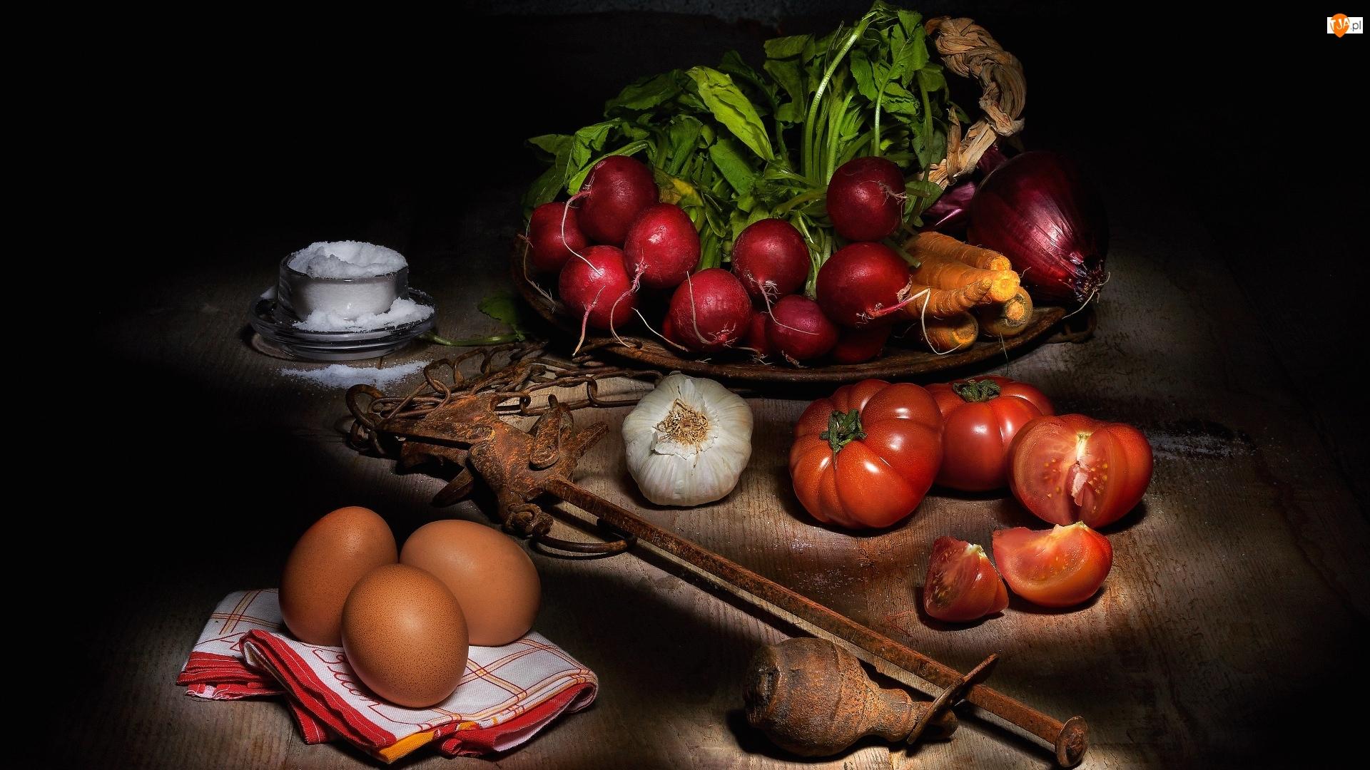 Warzywa, Rzodkiewki, Sól, Kompozycja, Jajka, Cebula, Pomidory