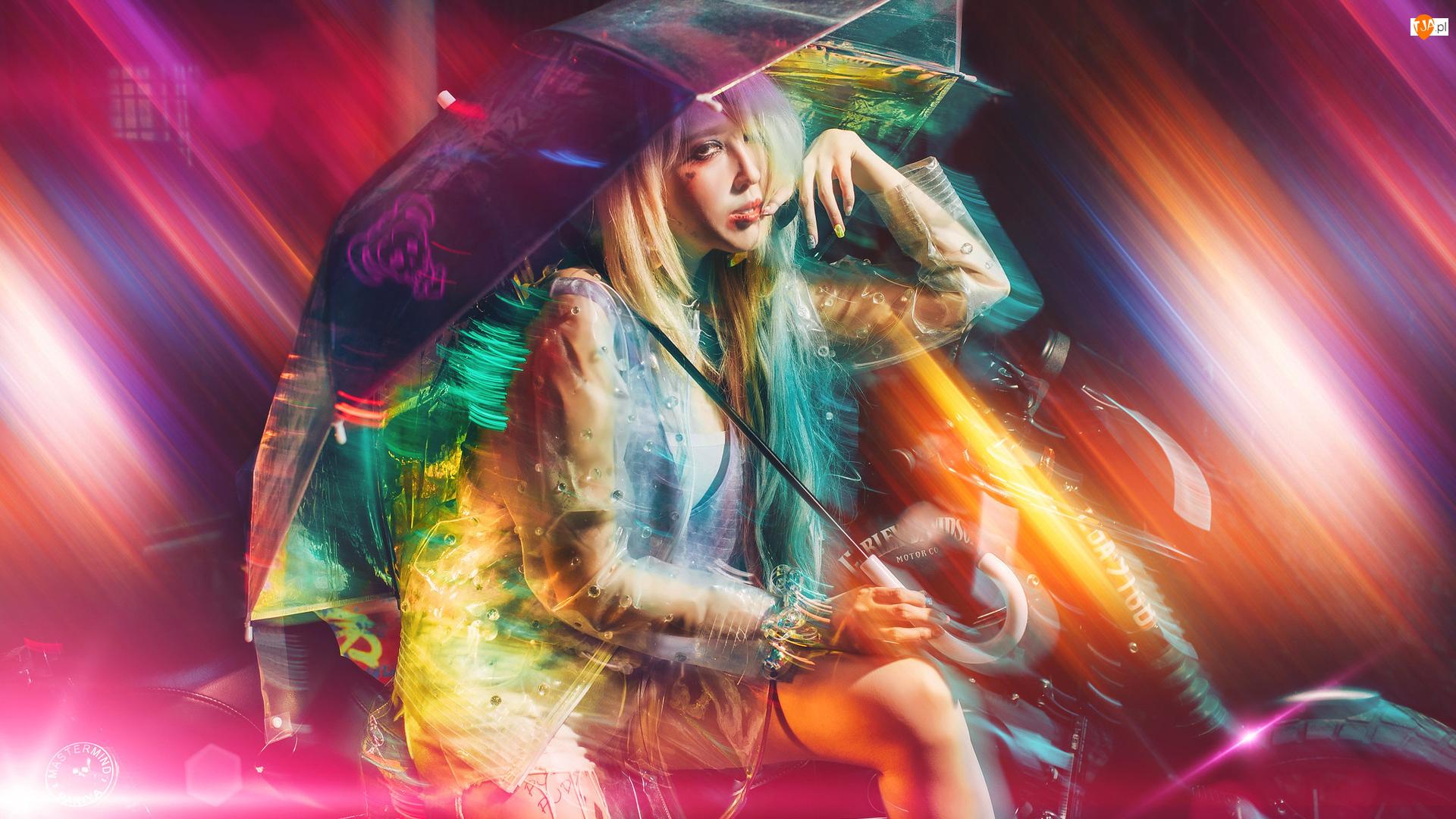 Grafika, Dziewczyna, Blondynka, Parasolka