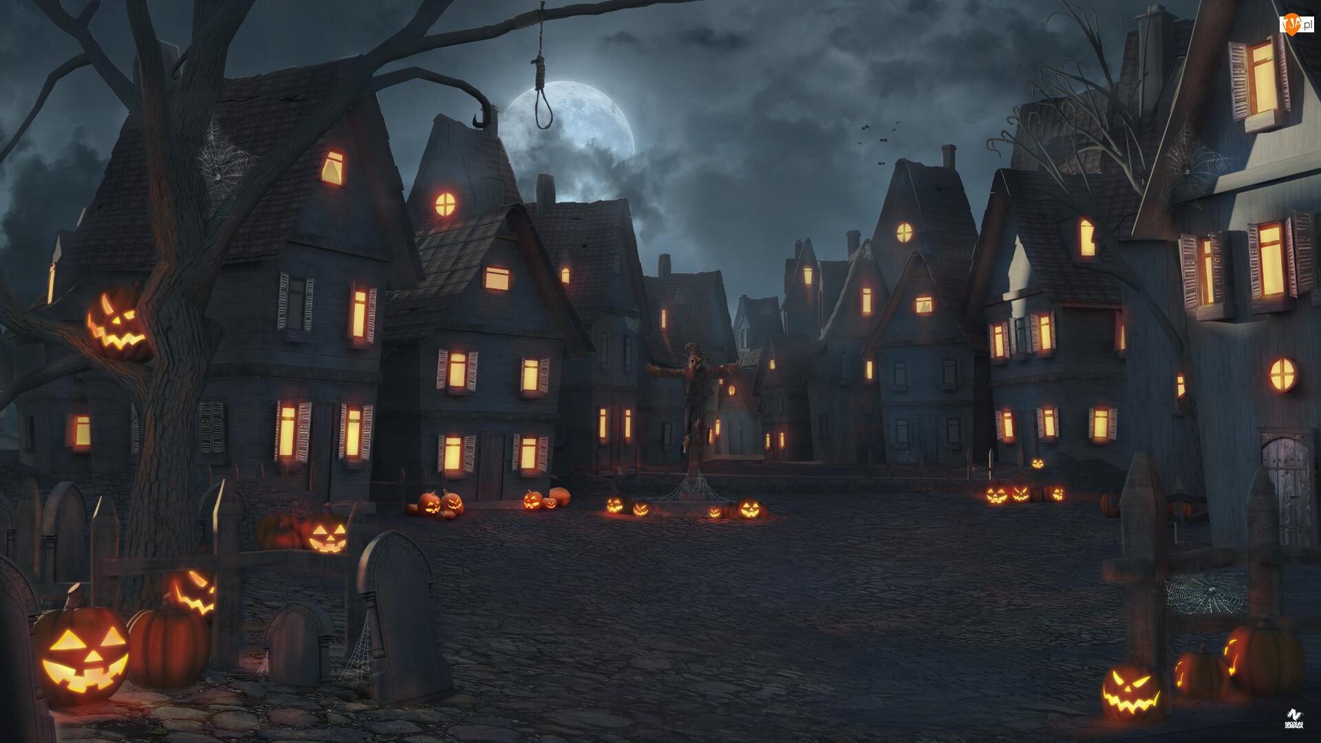 Grafika, Domy, Drzewo, Księżyc, Dynie, Światła, Ulica, Halloween, Noc