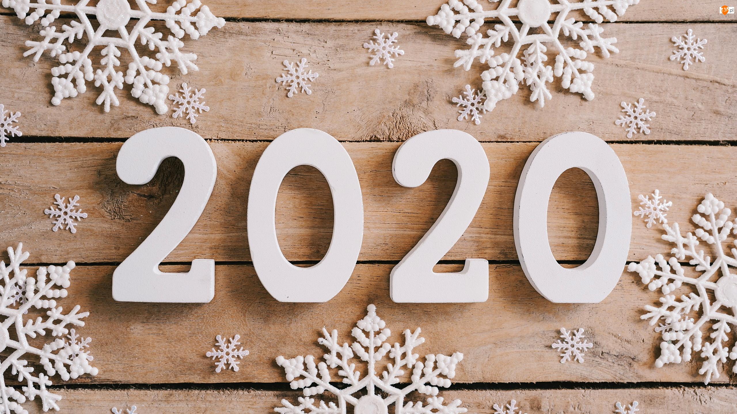 2020, Deski, Cyfry, Nowy Rok, Śnieżynki