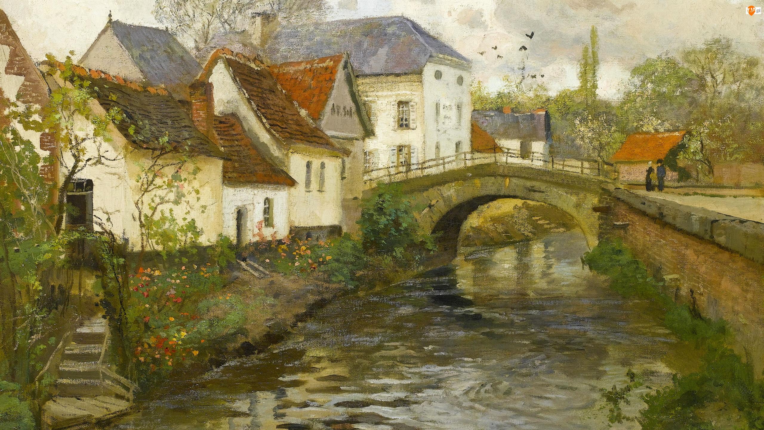 Most, Obraz, Rzeka, Belgia, Domy, Fritz Thaulow, Miasteczko, Malarstwo, La Panne