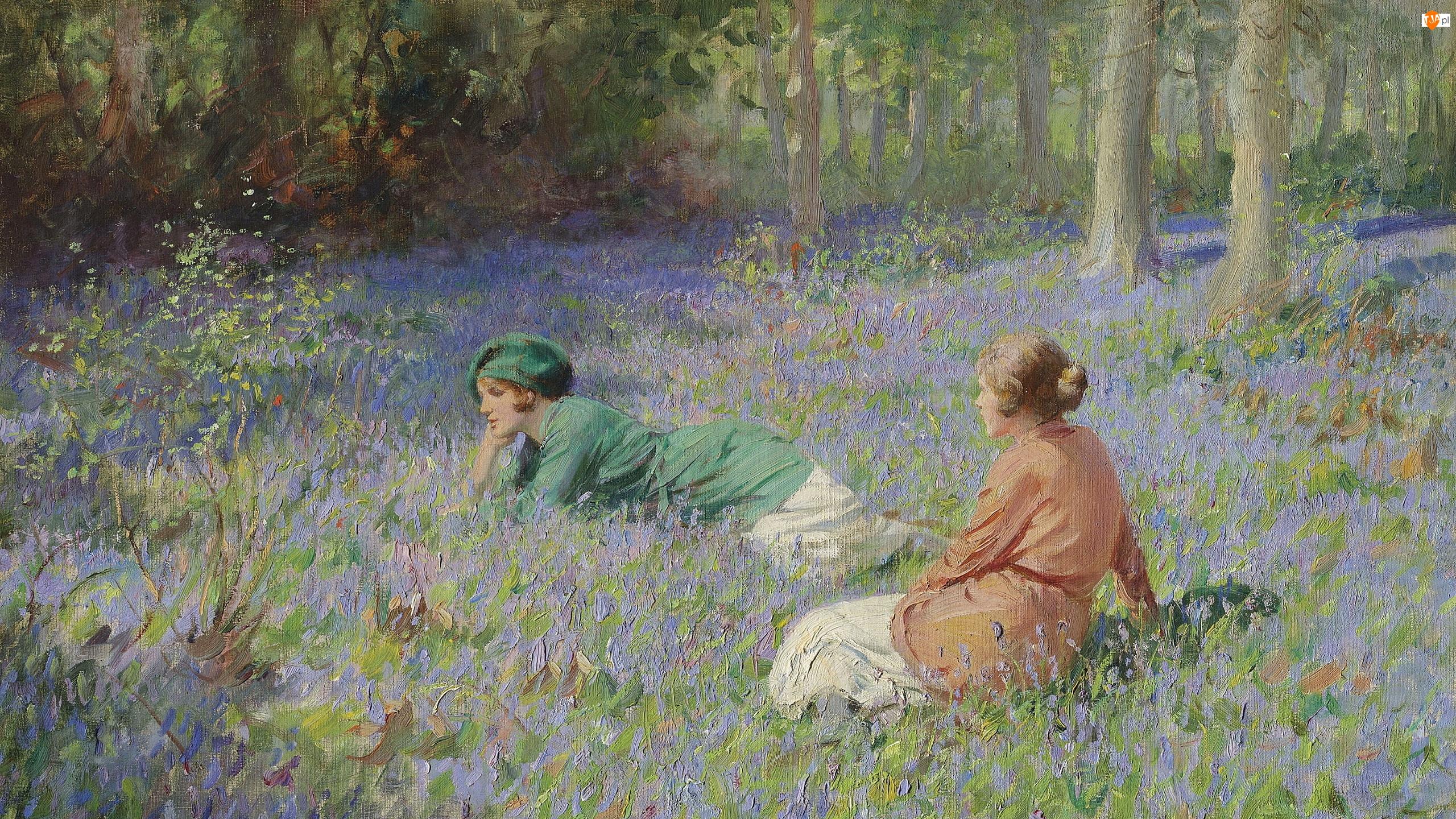 Las, Malarstwo, Dwie, Polana, Obraz, Kobiety, Kwiaty, Rowland Wheelwright