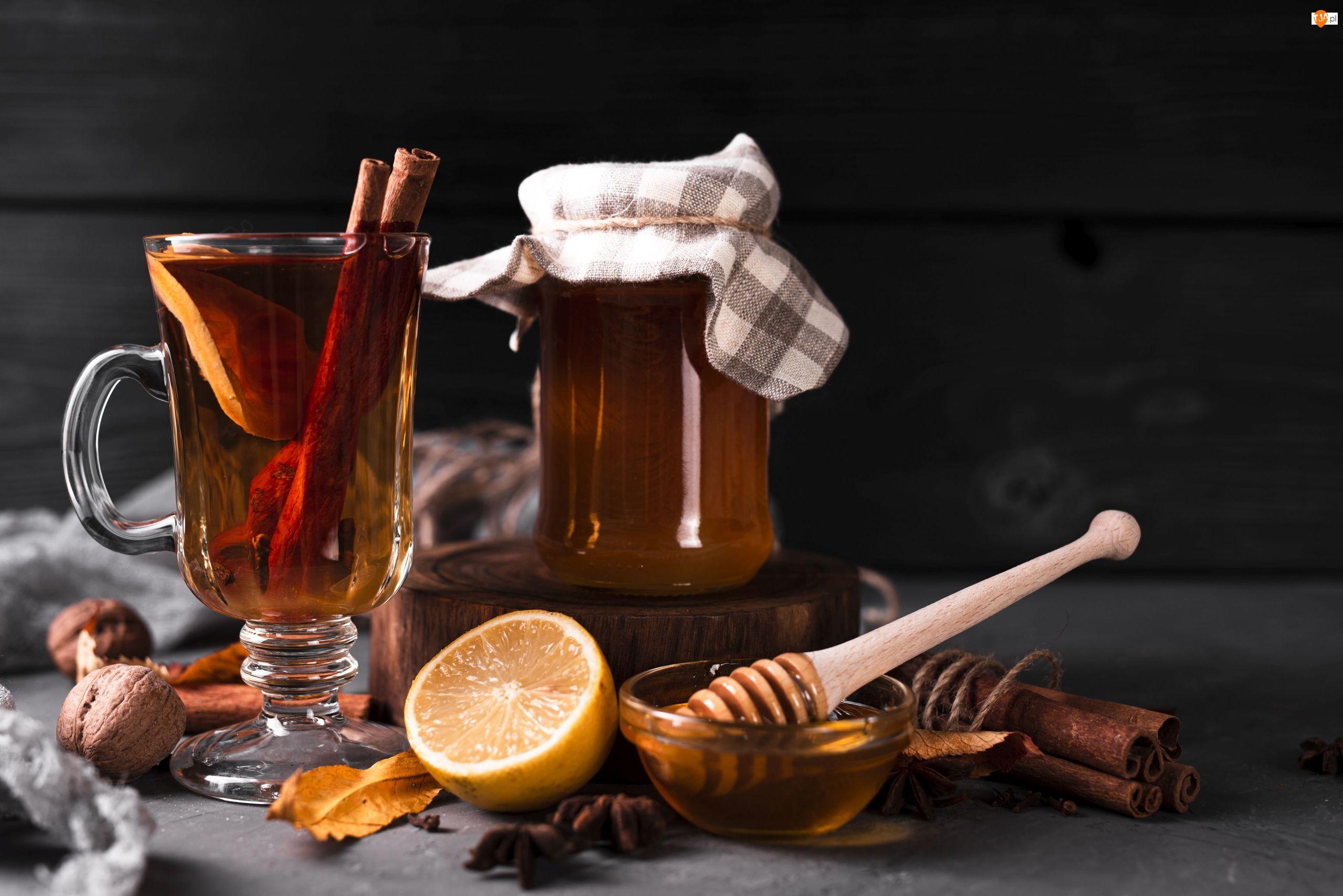 Herbata, Cytryna, Liście, Szklanka, Orzechy, Miód, Filiżanka