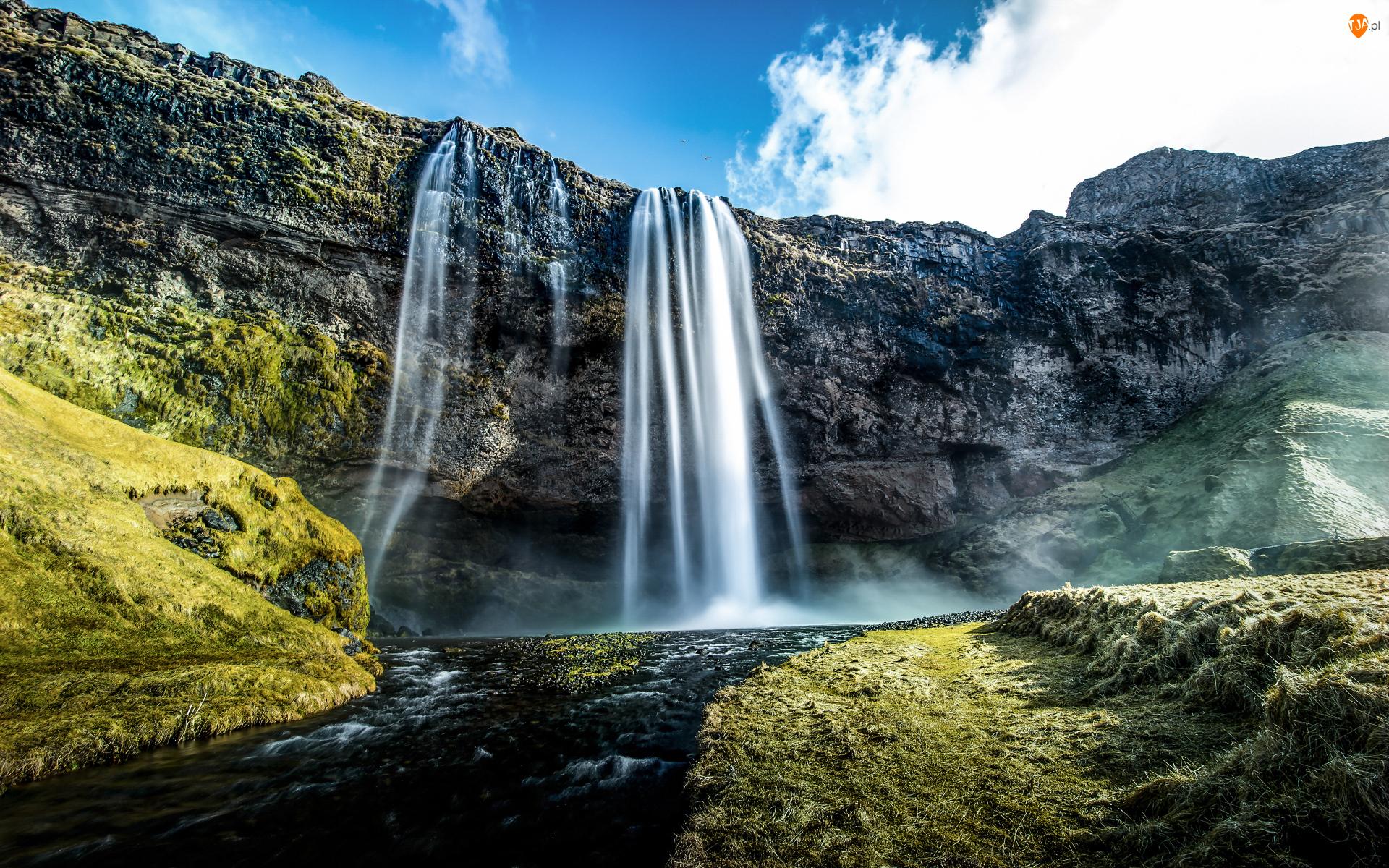 Islandia, Skały, Wodospad Seljalandsfoss, Roślinność