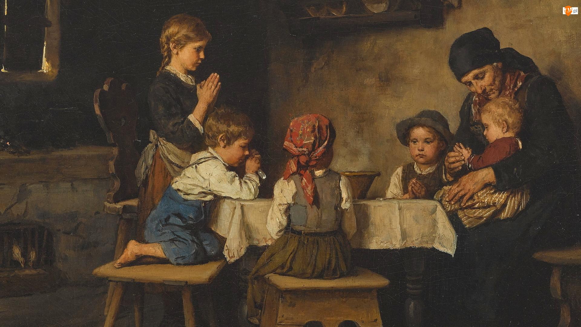 Rodzina, Malarstwo, Dzieci, Stół, Obraz, Kobieta, Modlitwa, Franz von Defregger