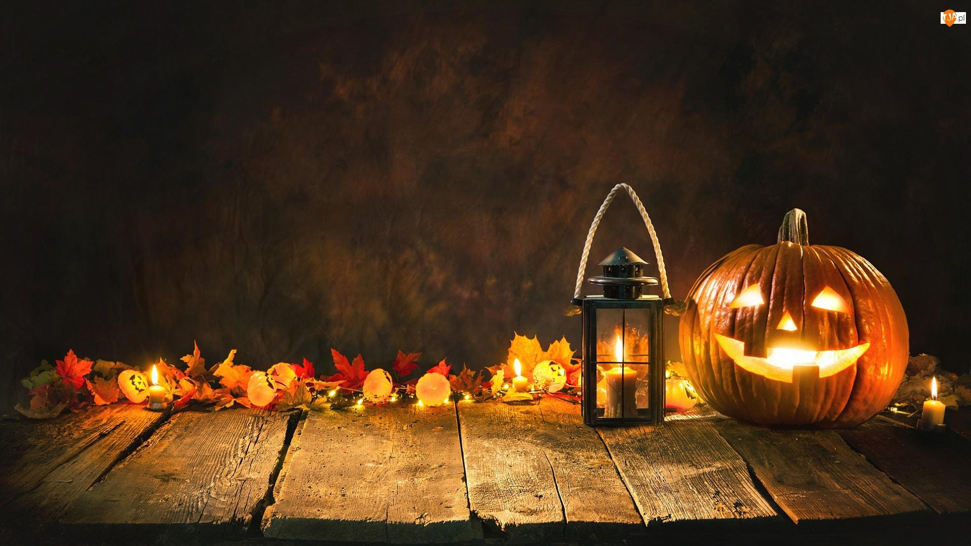 Świecąca, Dynia, Deski, Halloween, Liście, Świeczki, Lampion