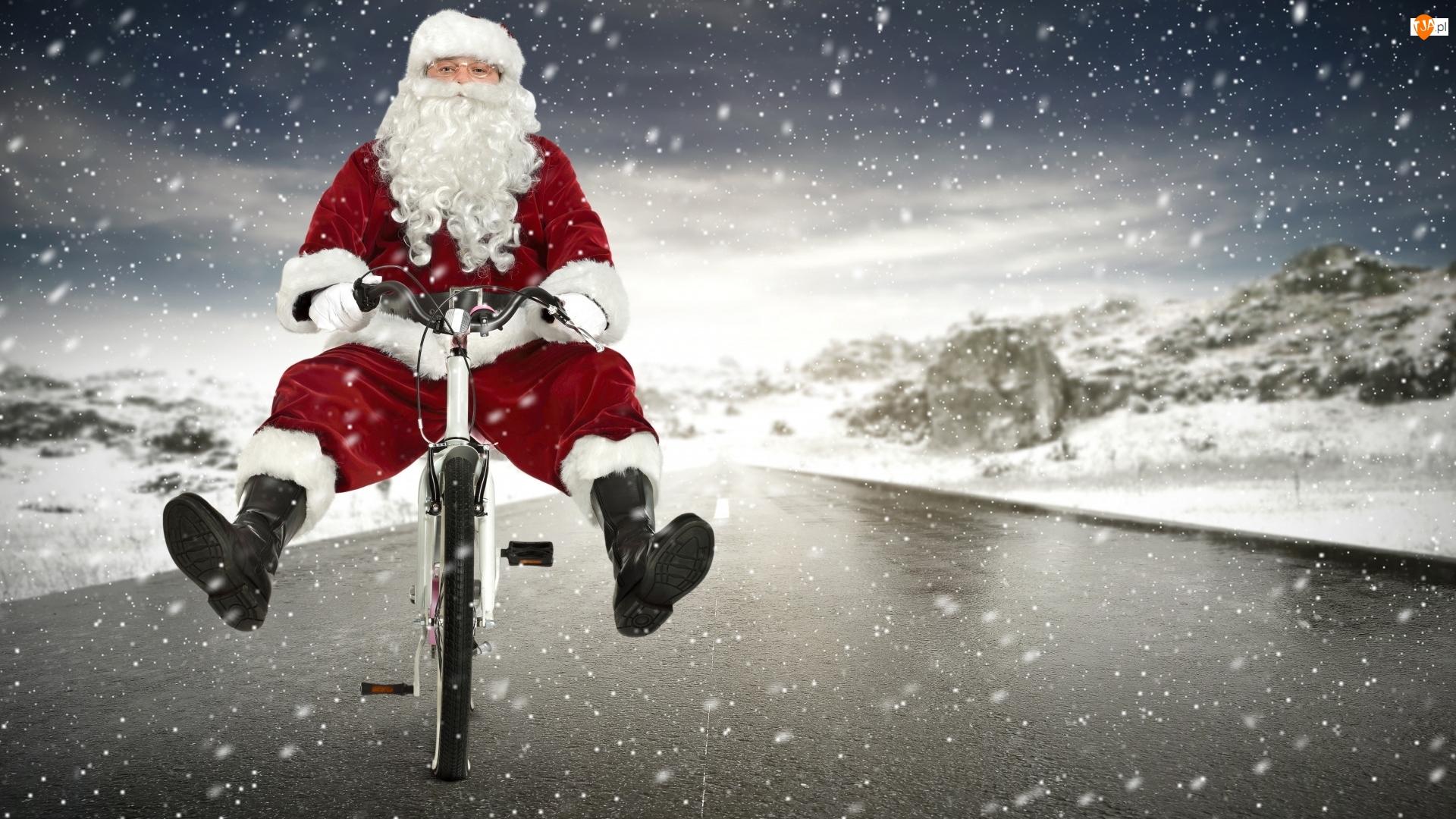 Droga, Mikołaj, Rower, Śnieg