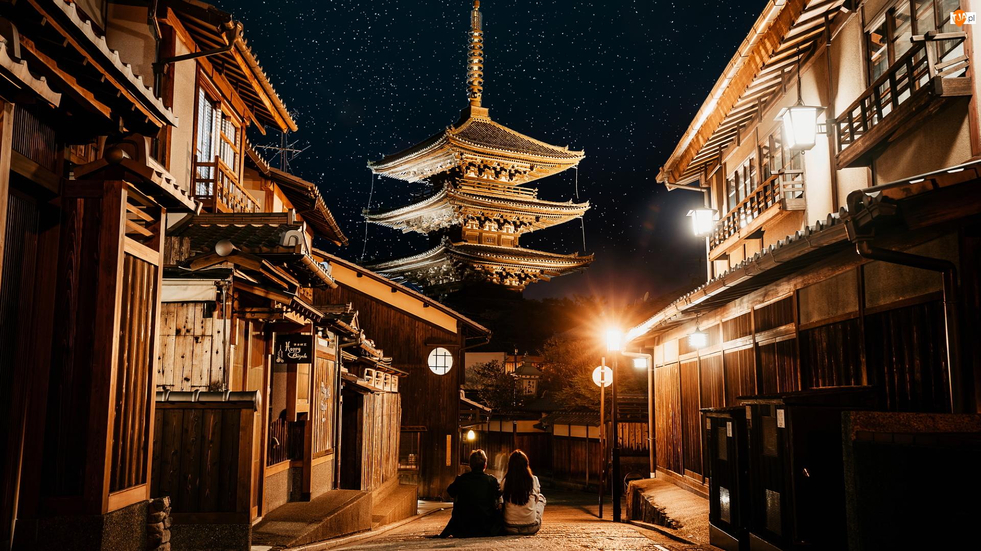 Świątynia, Ulica, Japonia, Domy, Tokio, Ludzie, Latarnie