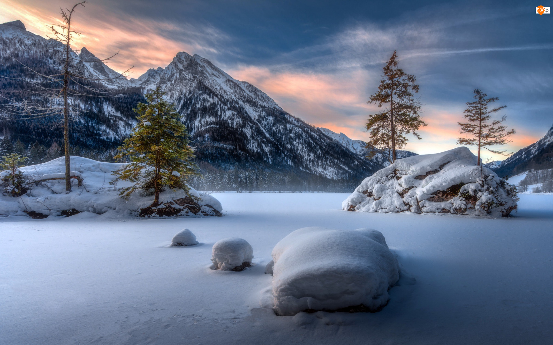 Śniegiem, Jezioro Hintersee, Bawaria, Zasypane, Niemcy, Drzewa, Góry