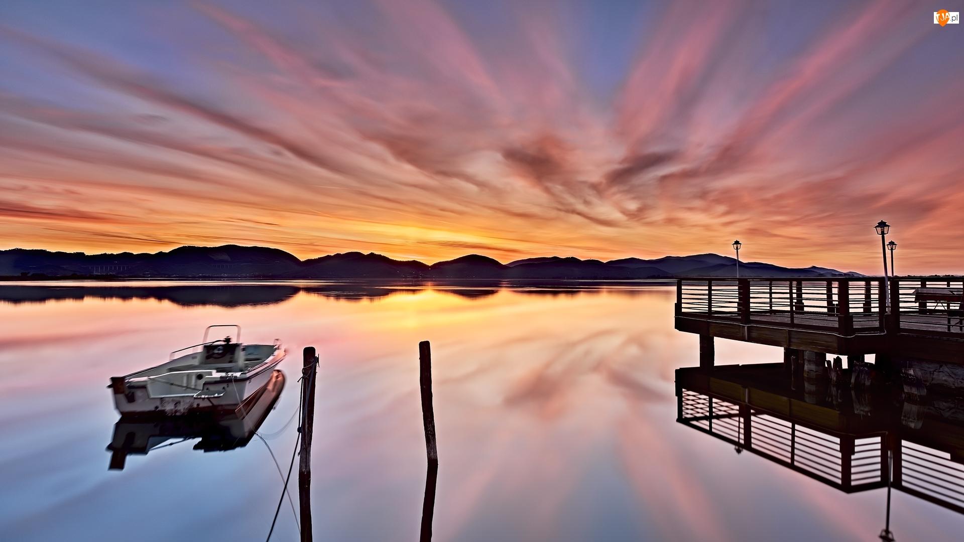 Motorówka, Zachód słońca, Molo, Jezioro, Wzgórza