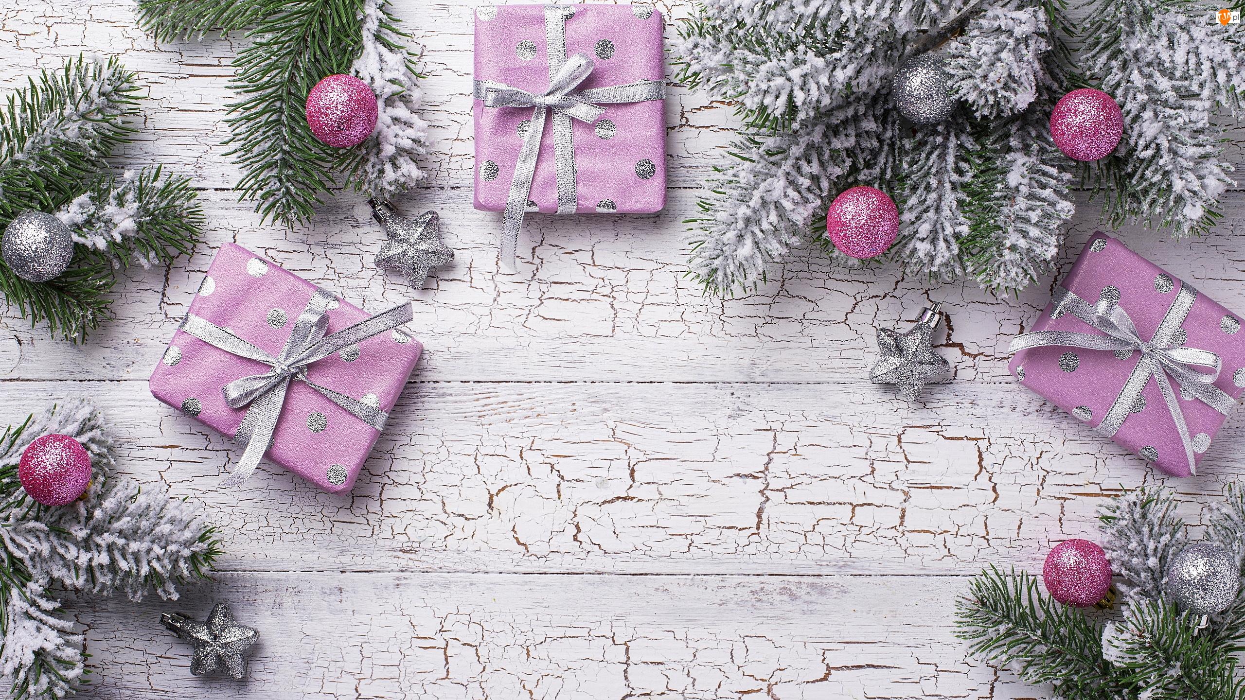 Drewno, Boże Narodzenie, Popękane, Bombki, Prezenty, Gałązki, Srebrne, Kompozycja, Różowe