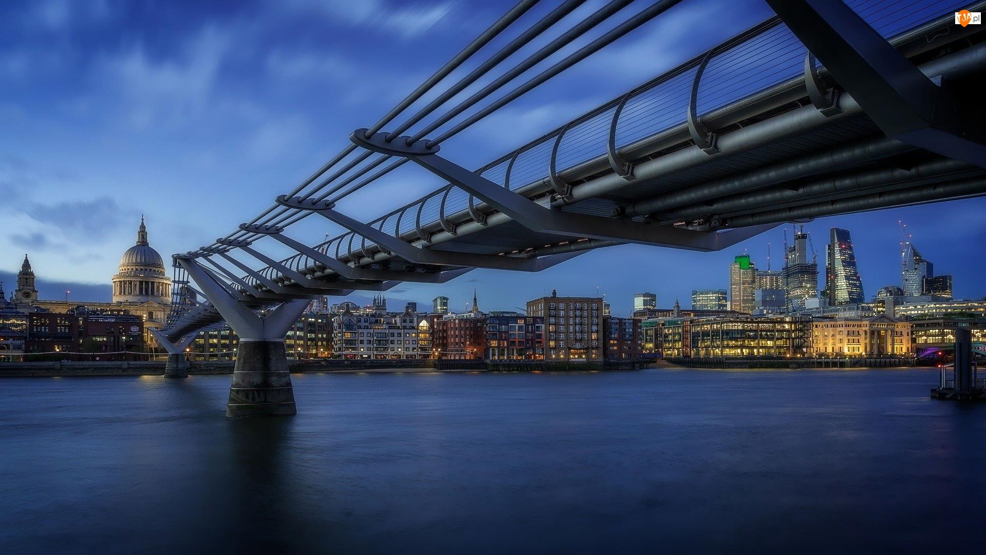 Millennium Bridge, Most, Domy, Anglia, Rzeka Tamiza, Londyn