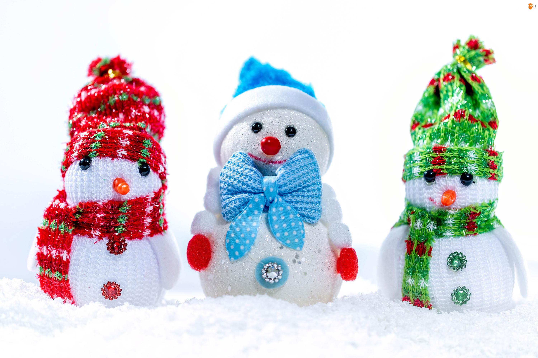 Śnieg, Trzy, Czapki, Zima, Bałwanki, Szaliki, Dekoracja, Zabawki