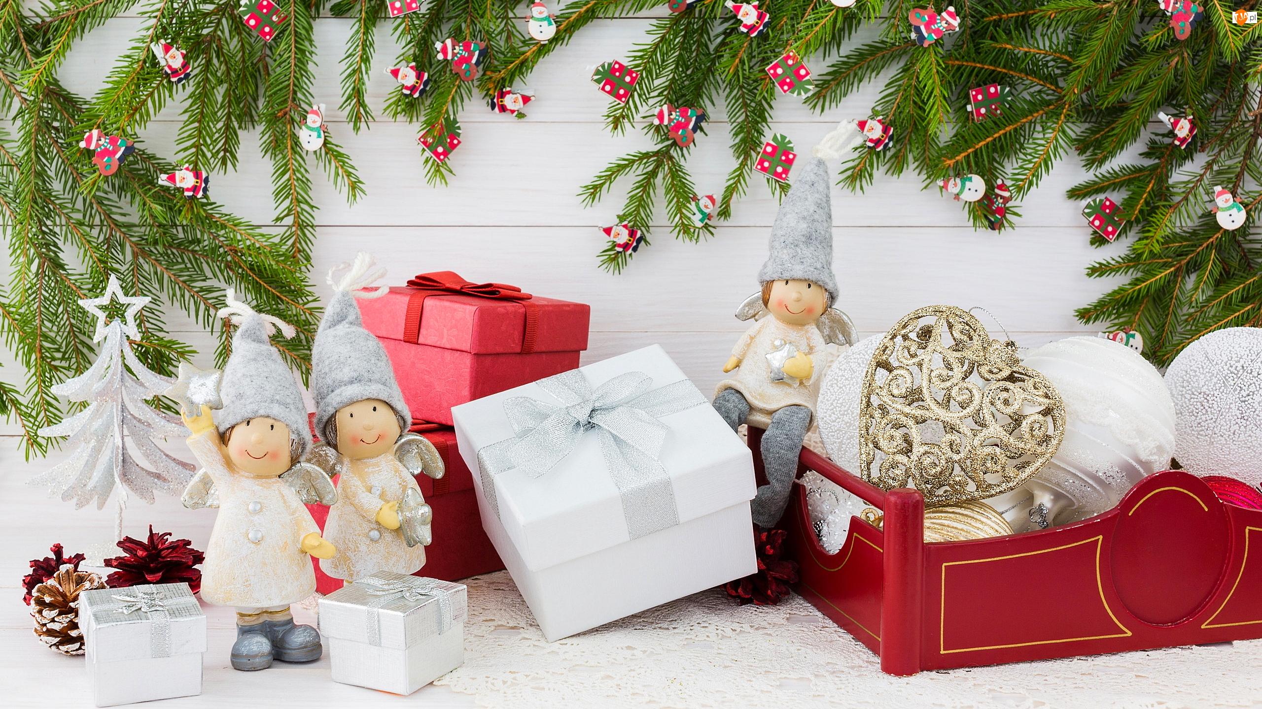 Dekoracja, Świąteczne, Aniołki, Gałązki, Figurki, Prezenty