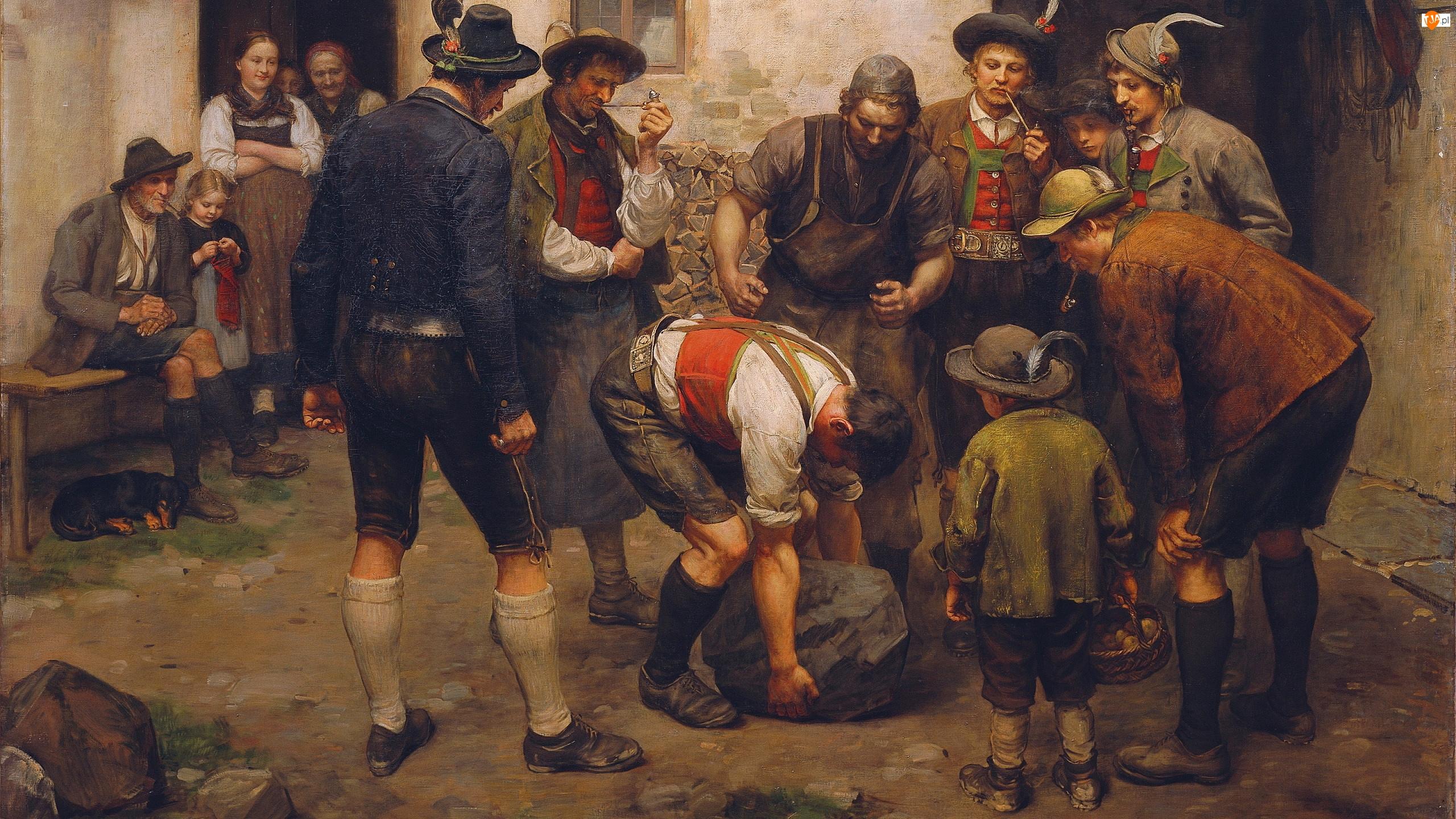 Obraz, Franz von Defregger, Kamienia, Malarstwo, Podnoszenie, Zawody, Mężczyźni