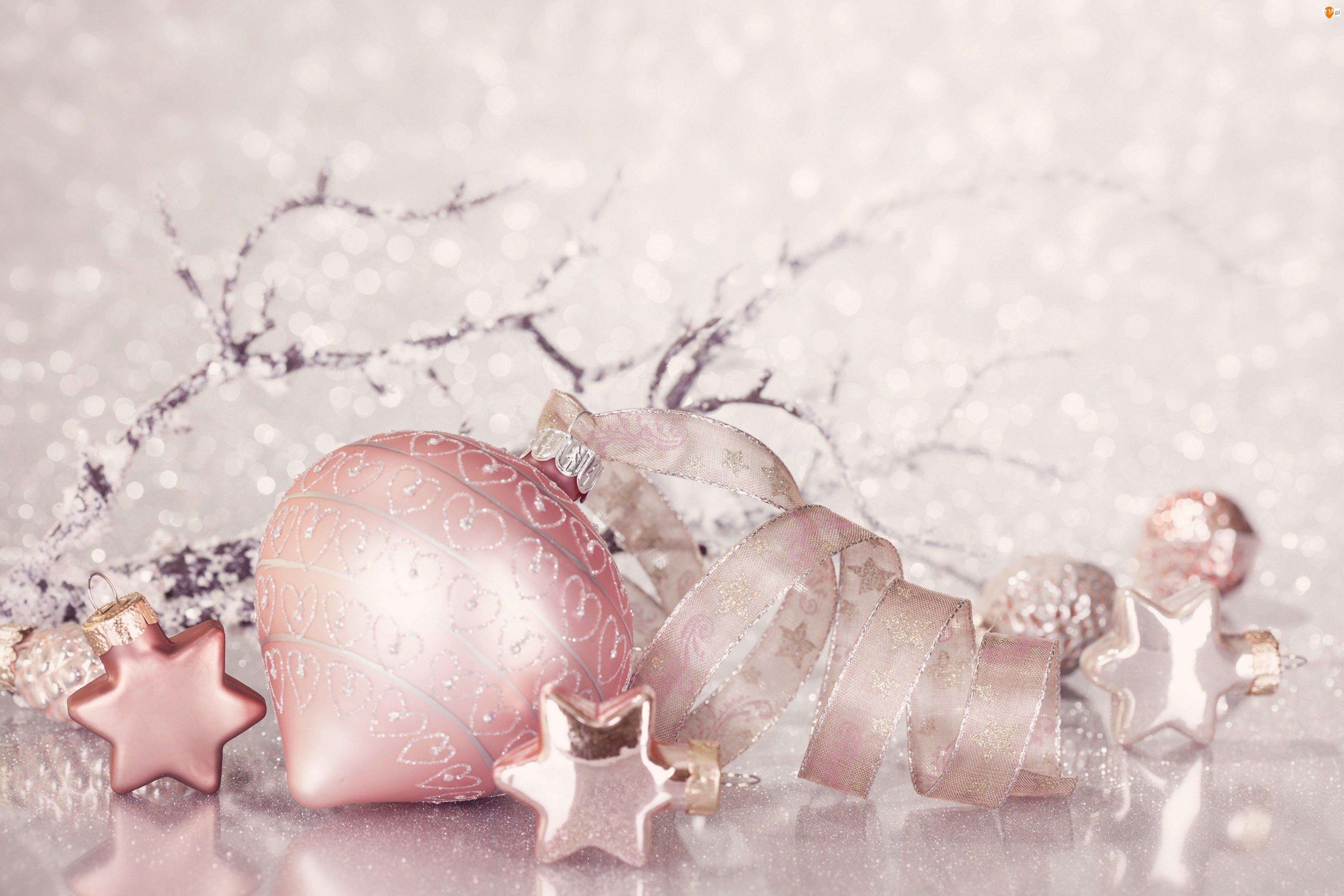 Gwiazdki, Boże Narodzenie, Bombka, Różowa, Wstążka