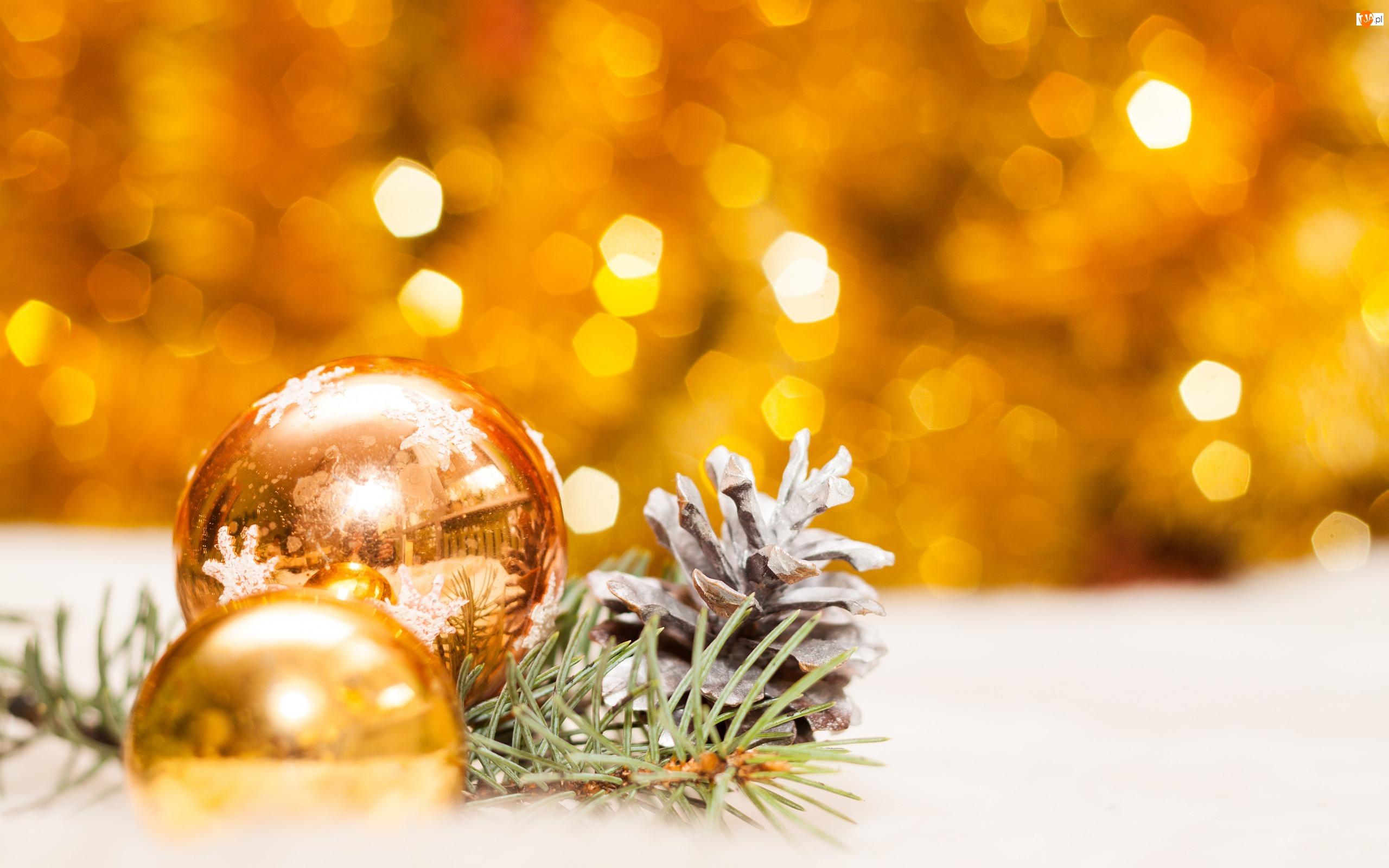 Szyszka, Boże Narodzenie, Bombki, Złote, Święta