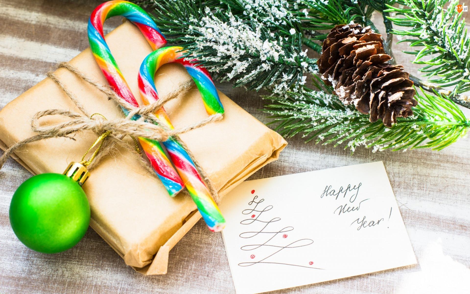 Gałązki, Szyszka, Szczęśliwego Nowego Roku, Kompozycja, Napis, Kartka, Prezent