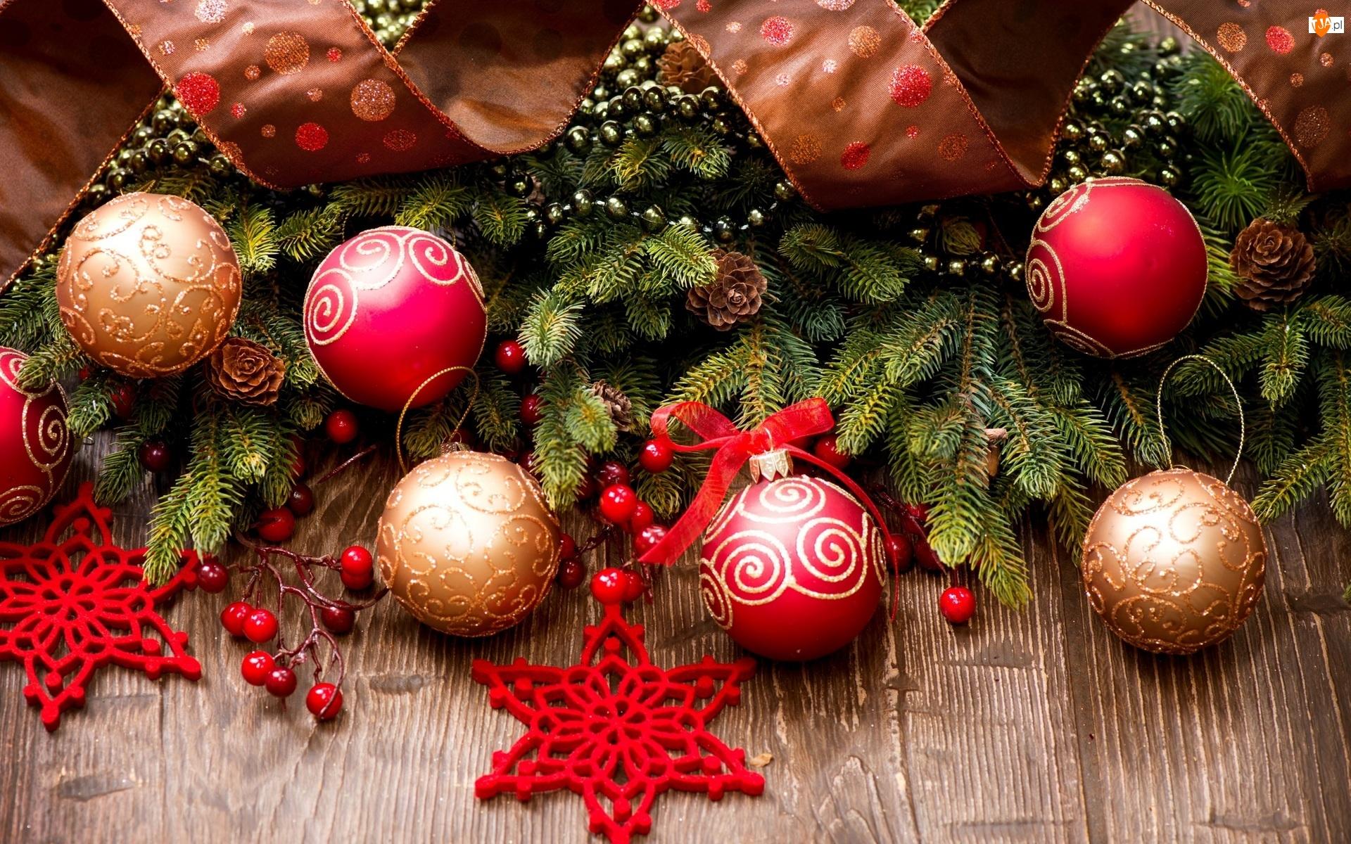 Dekoracja, Świąteczna, Świerkowe, Gwiazdki, Gałązki, Bombki