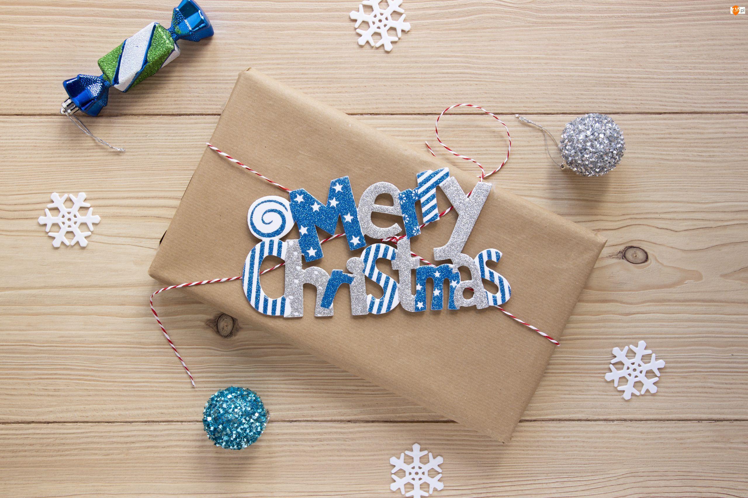 Napis, Merry Christmas, Boże Narodzenie, Prezent, Cukierek, Śnieżynki, Bombki