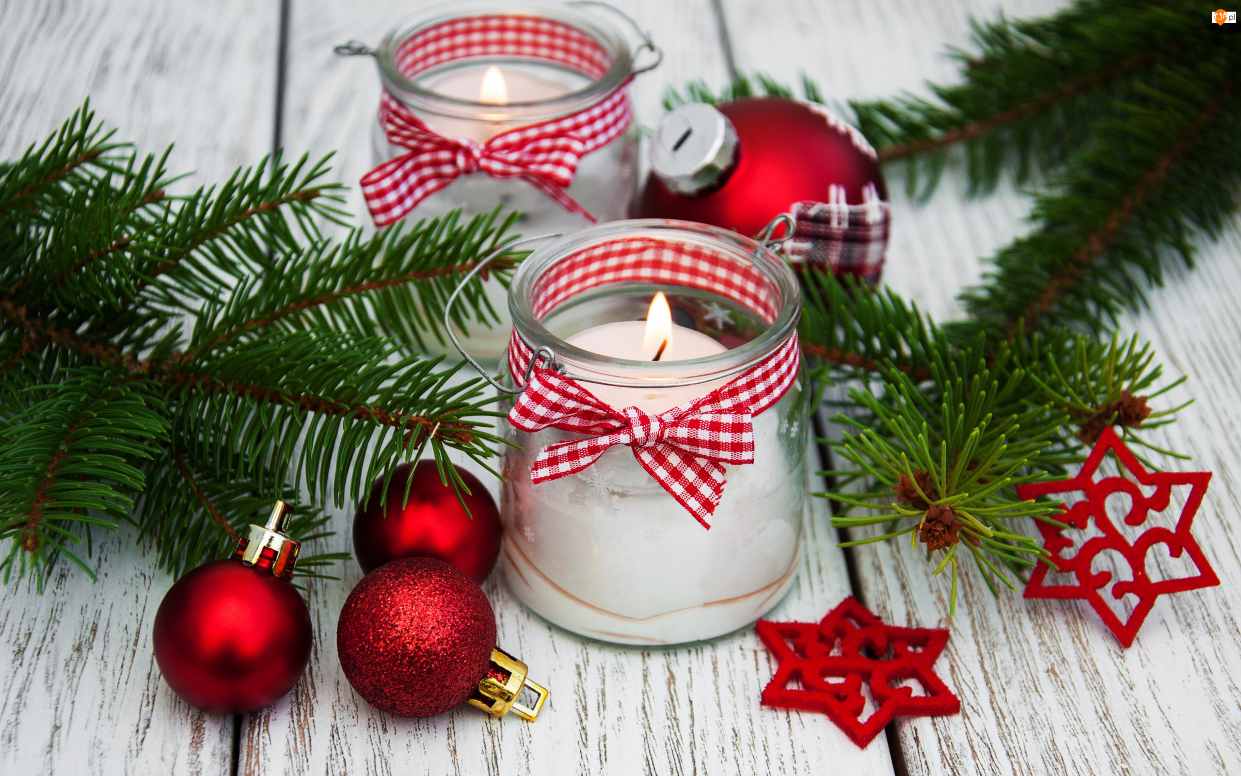 Czerwone, Bombki, Boże Narodzenie, Świece, Świerkowe, Gałązki, Gwiazdki