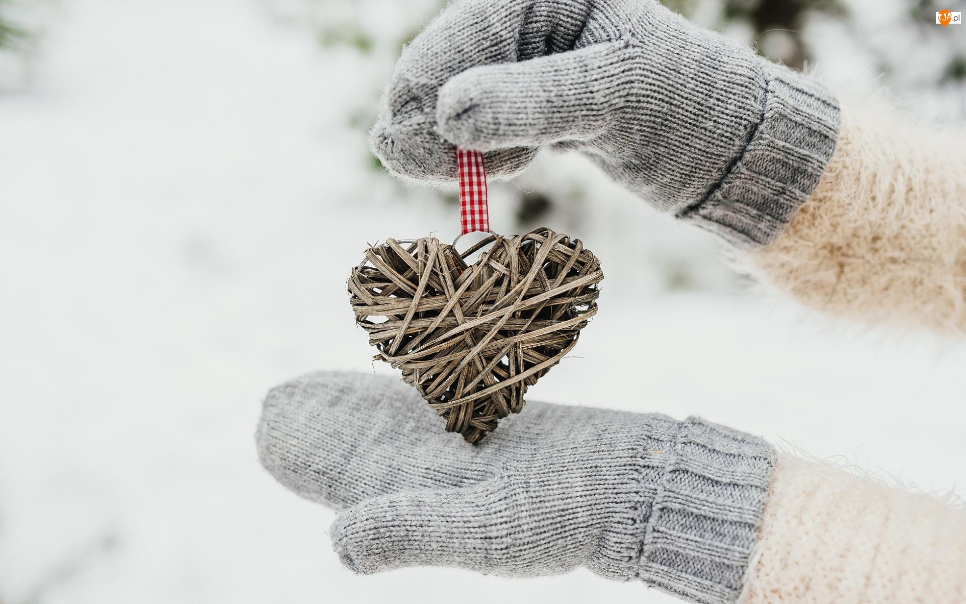 Rękawiczki, Zawieszka, Serce, Dłonie