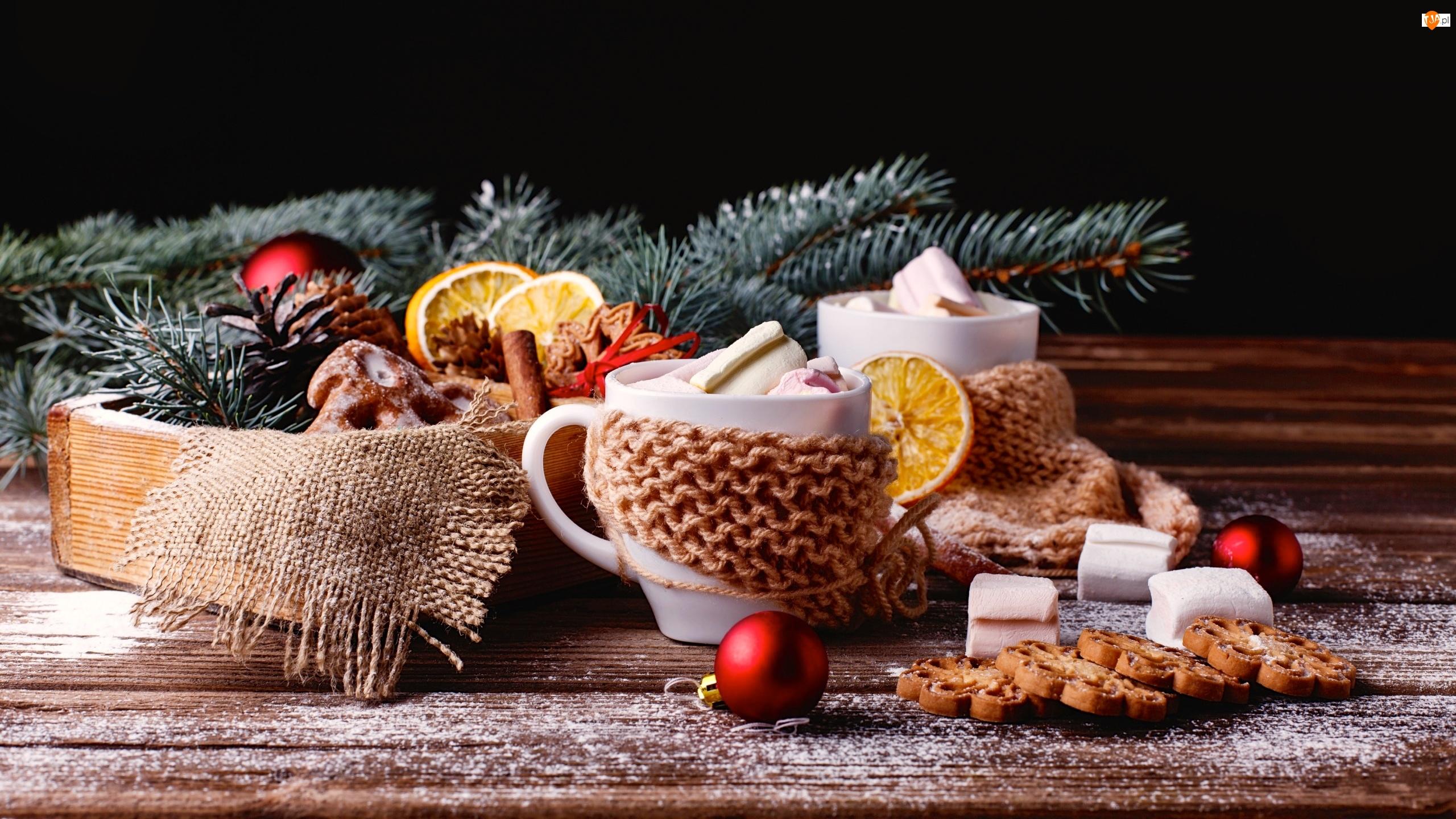 Pomarańczy, Ciasteczka, Cynamon, Bombka, Świąteczna, Kompozycja, Filiżanki, Gałązki, Pianki, Plasterki